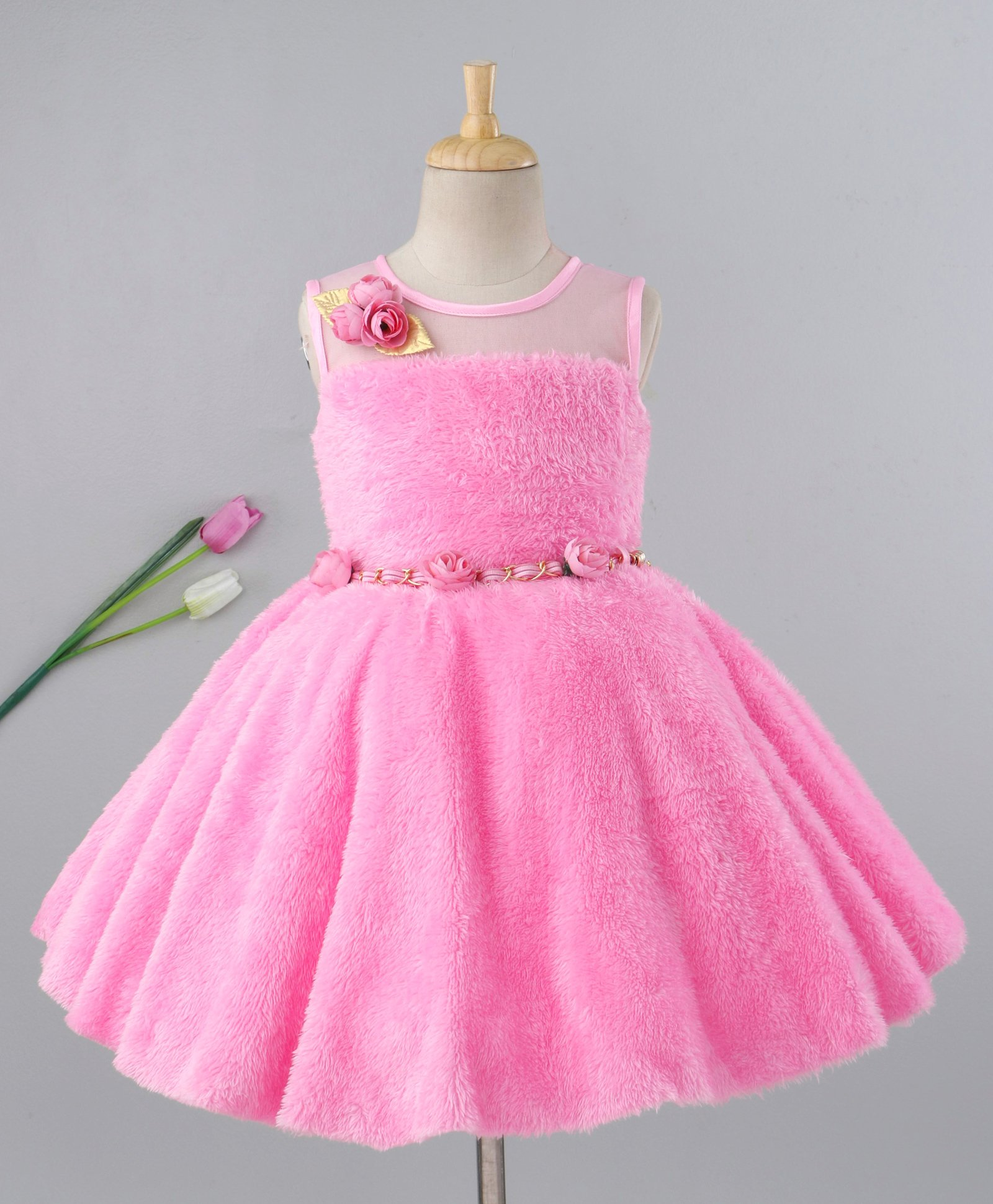 d1aafeba6ce44 Buy Enfance Flower Applique Sleeveless Dress With Belt Pink for Girls (2-3  Years) Online in India, Shop at FirstCry.com - 2509855