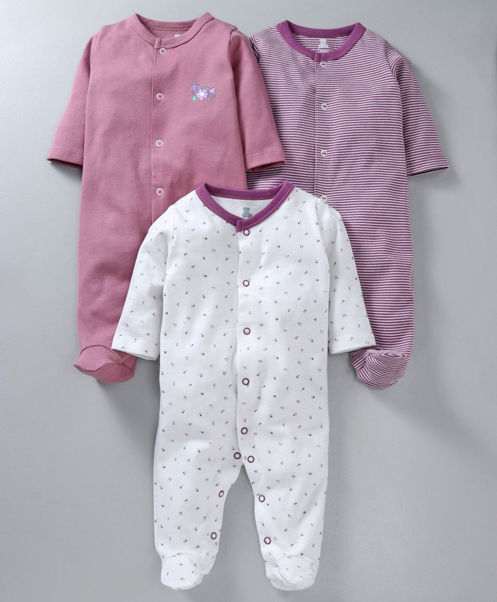 90b3b619a I Bears Full Sleeves Footed Rompers Pack of 3 - White, Pink & Purple