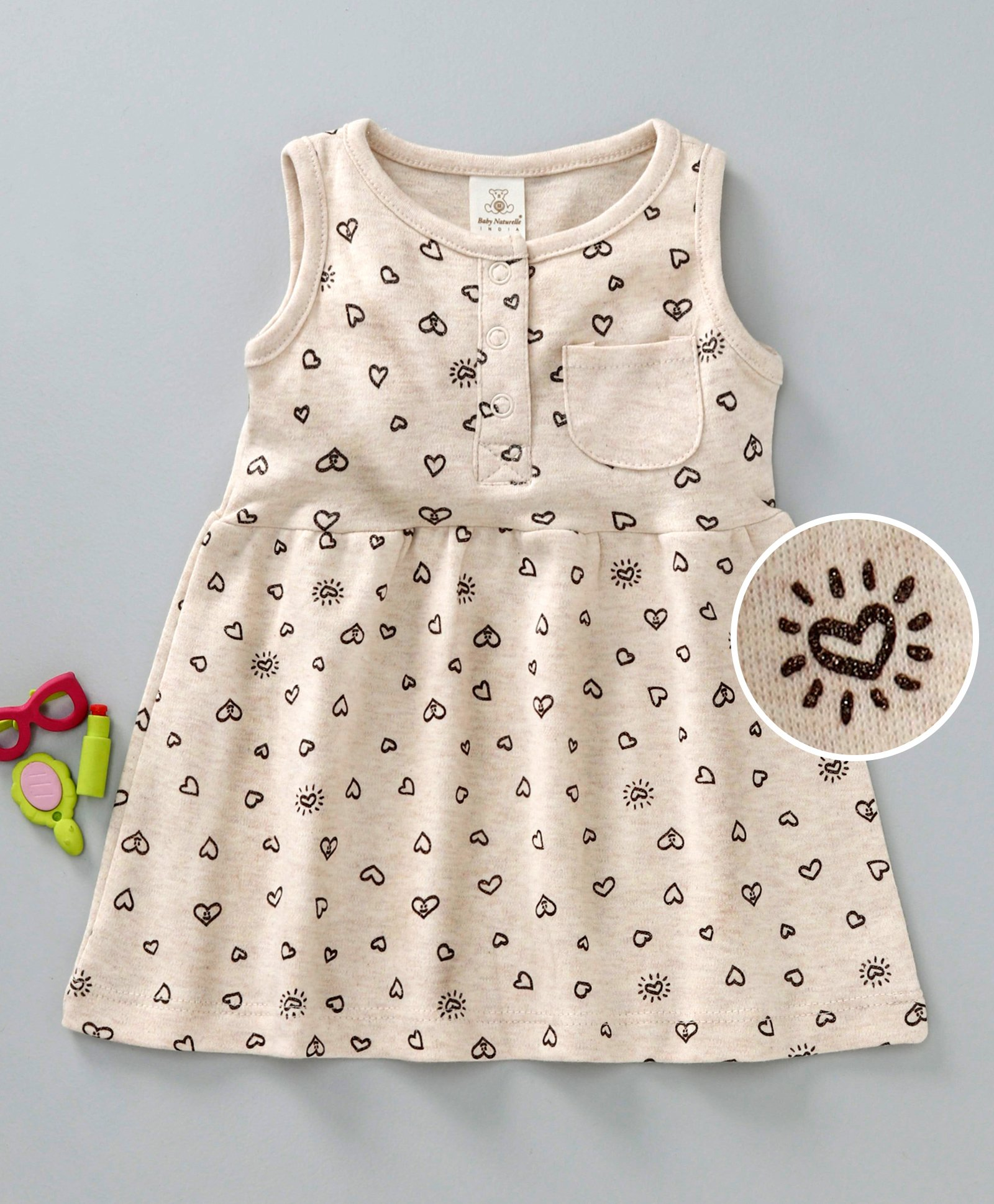 58af8ce3cd81a Buy Baby Naturelle & Me Sleeveless Frock Heart Print Beige for Girls (3-6  Months) Online in India, Shop at FirstCry.com - 2513641