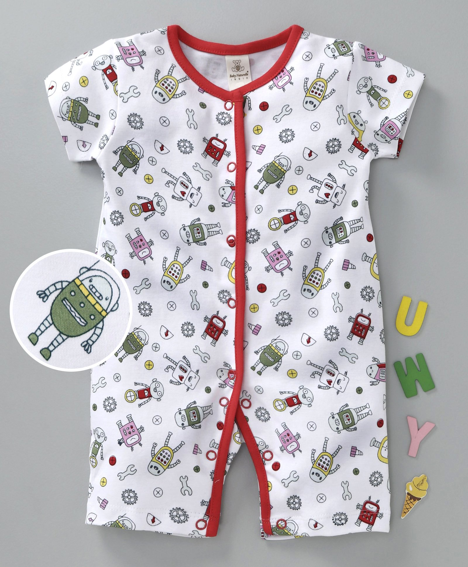 656d385eb20de Buy Baby Naturelle & Me Half Sleeves Romper Robot Print Red for Girls (6-12  Months) Online in India, Shop at FirstCry.com - 2513687