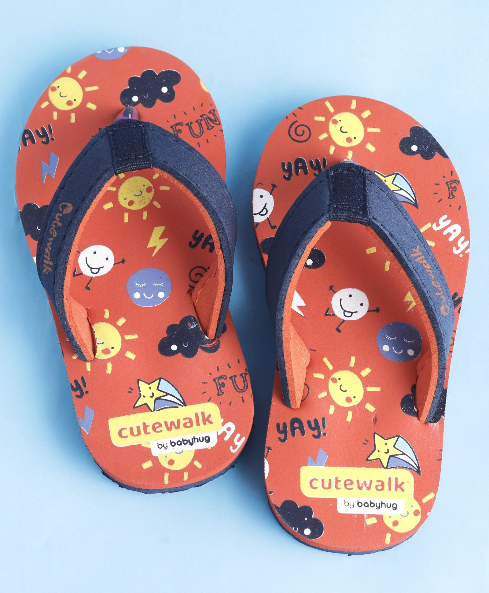 aa1a05497e923 Buy Cute Walk by Babyhug Flip Flops Multiprint Orange for Boys (4-4 ...