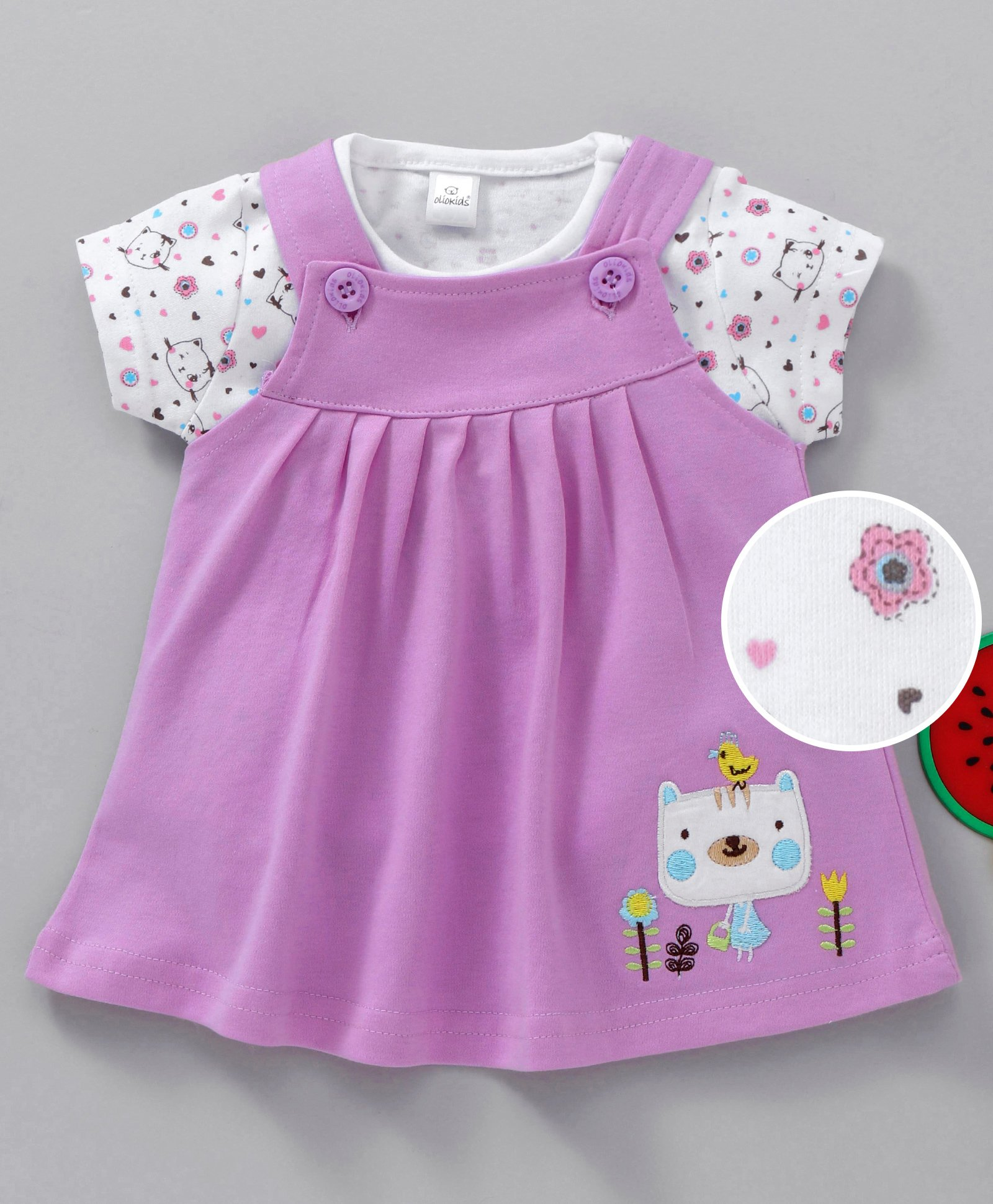 a949cda14 Buy Olio Kids Frock With Inner Printed Tee Mauve for Girls ( Months ...