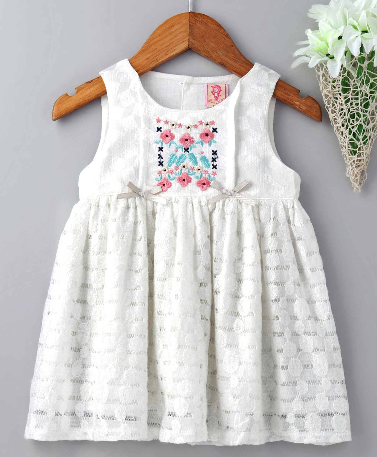 0a71b9a8f82c Buy Sunny Baby Sleeveless Embroidered Frock White for Girls (0-3 ...