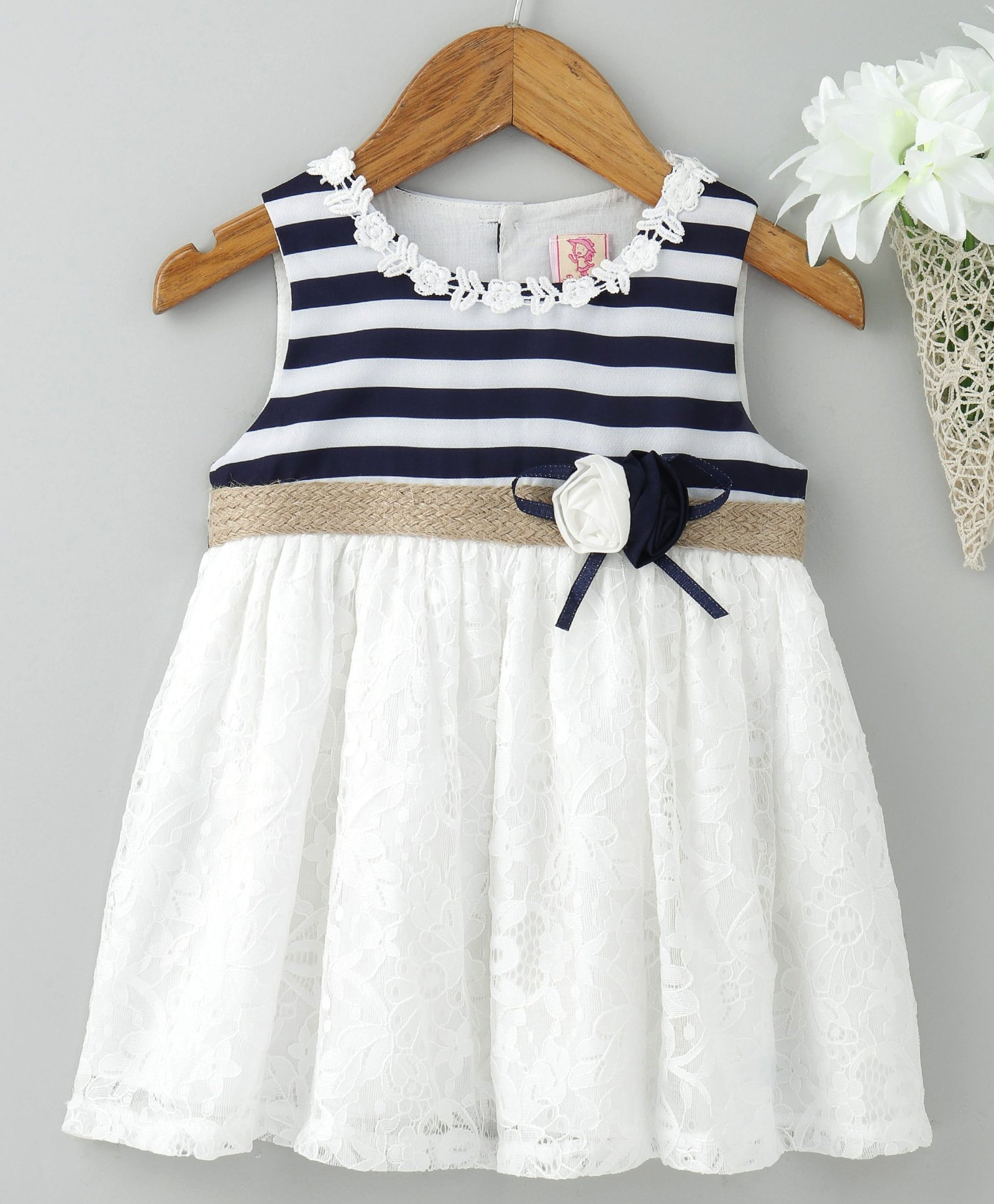 cbb0e207e047 Buy Sunny Baby Sleeveless Striped Frock Floral Applique Navy White ...