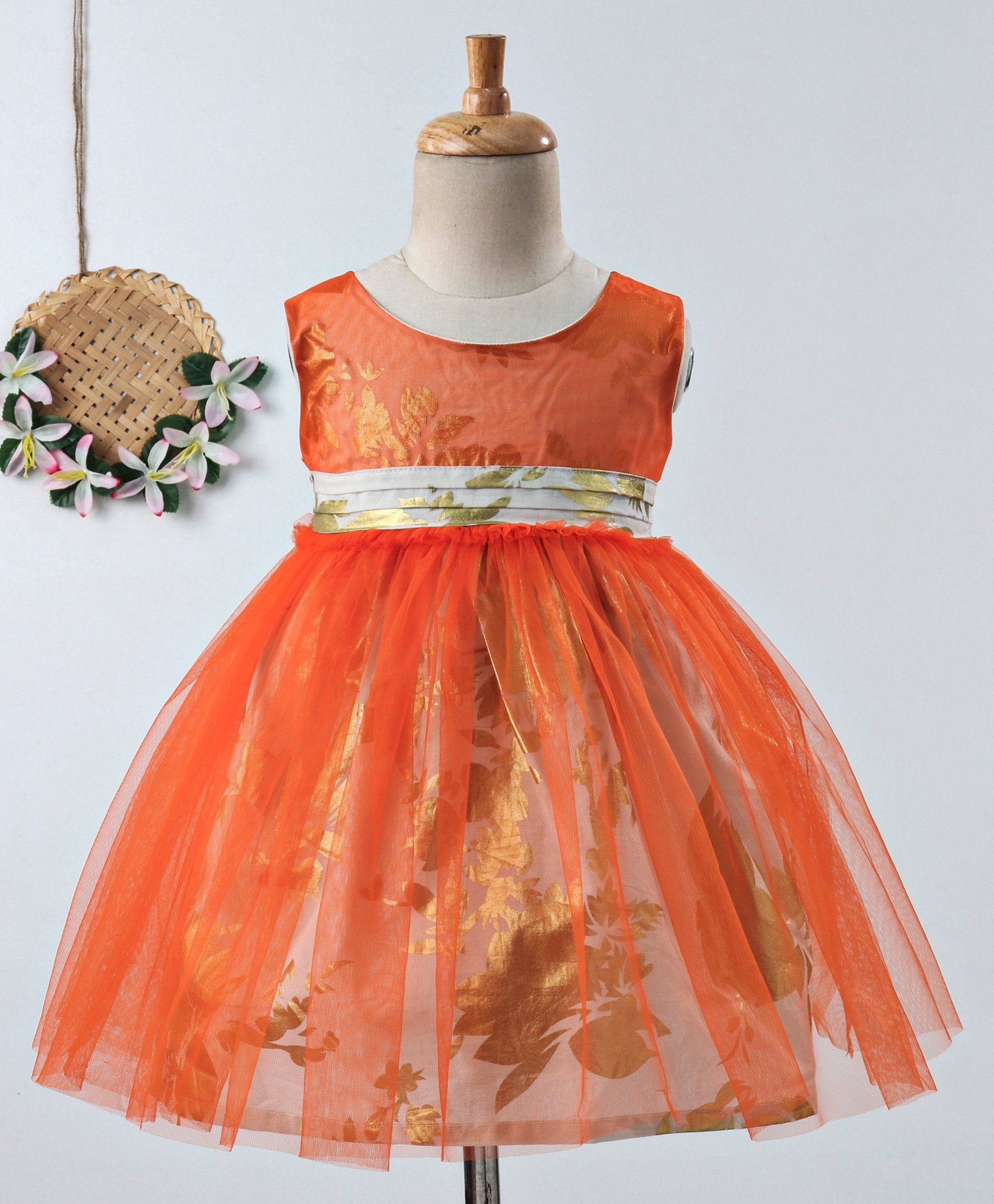 d54ddd2c801e3 Buy Many Frocks & Floral Print Sleeveless Net Dress Orange for Girls (2-3  Years) Online in India, Shop at FirstCry.com - 2549813