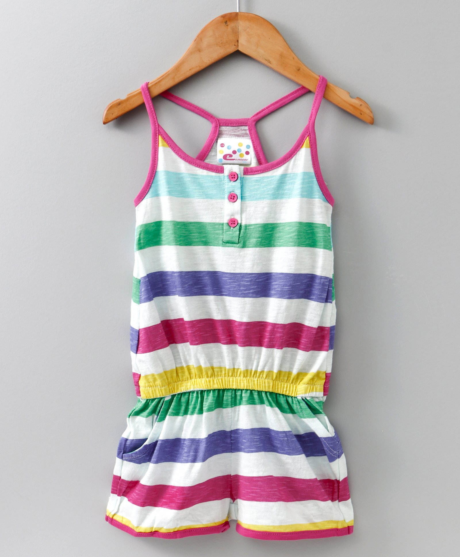 9654cac2d72 Buy Eimoie Girls Sleeveless Contrast Striped Jumpsuit Multicolor for ...
