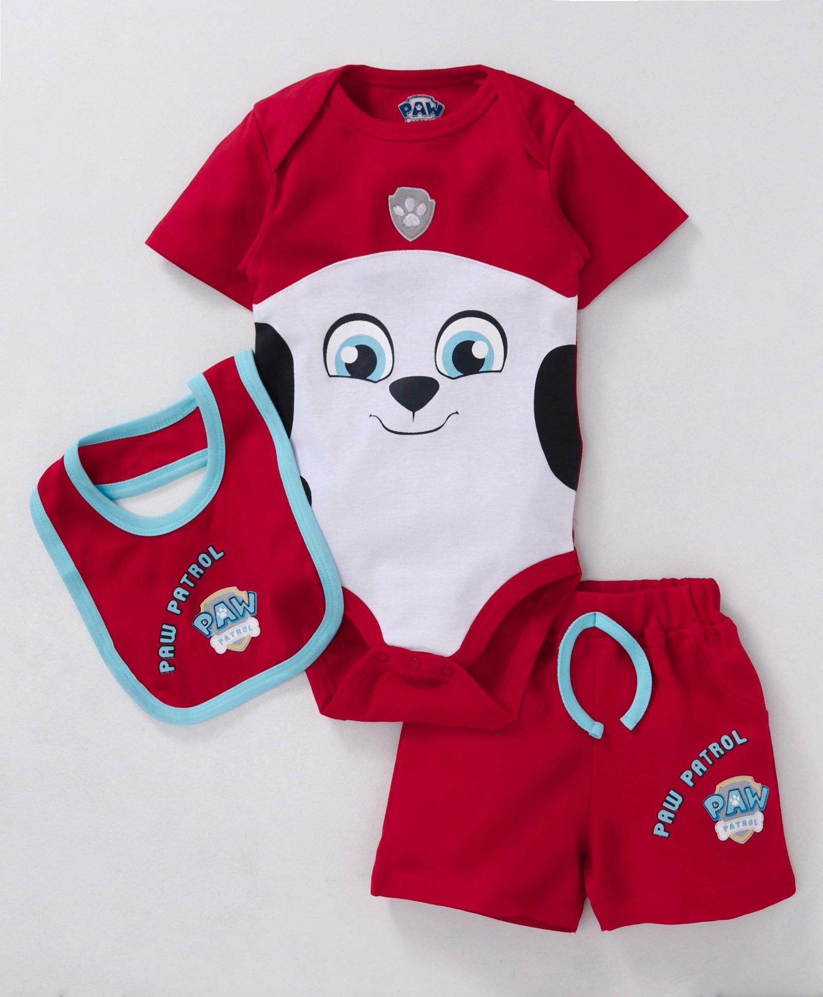 f8d83d4f2fdff Mom's Love Half Sleeves Onesie With Shorts & Bib Paw Patrol Print - Red