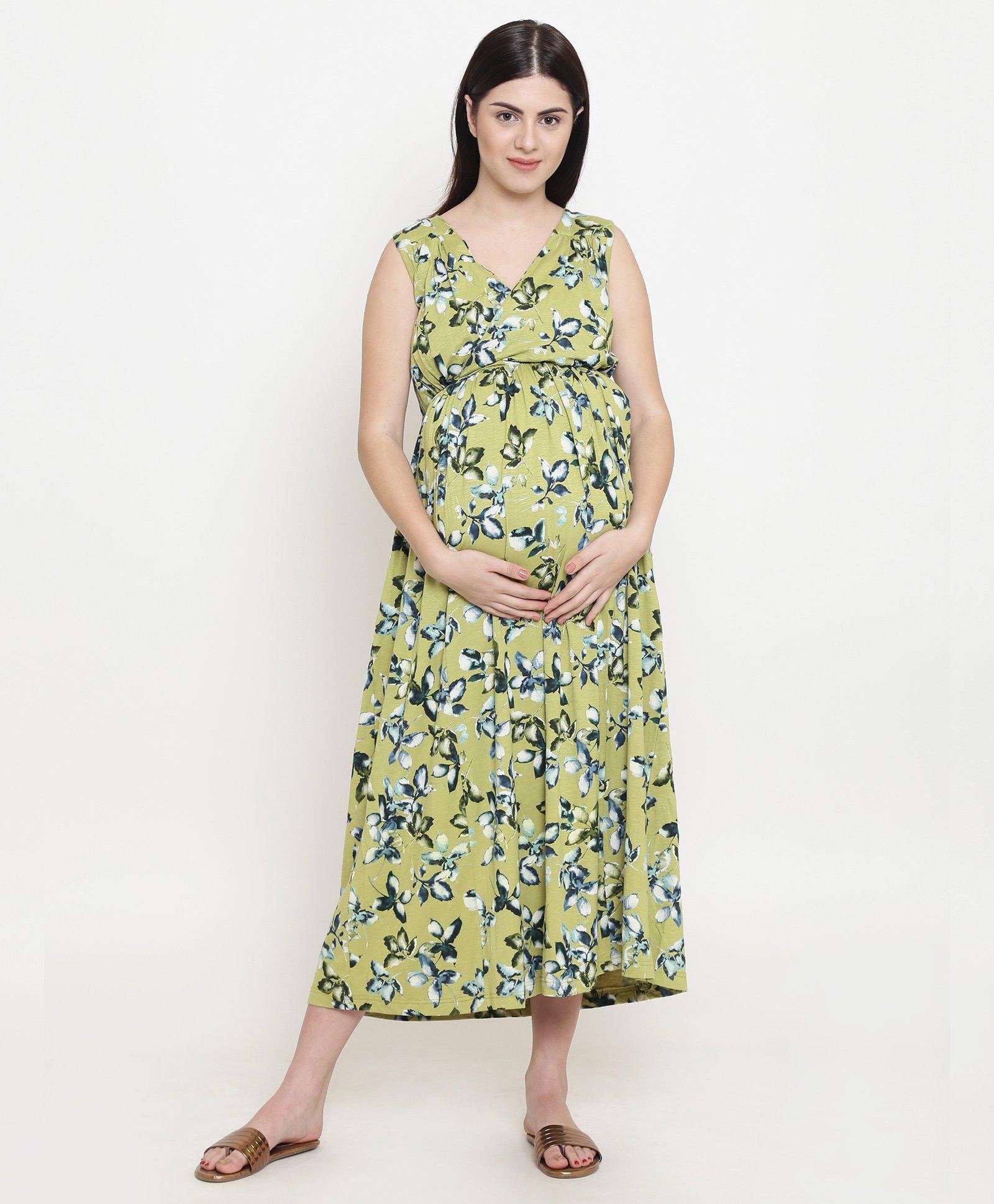01f8b75510ad3e Fashionably Pregnant Leaves Print Sleeveless Maternity Maxi Dress - Green