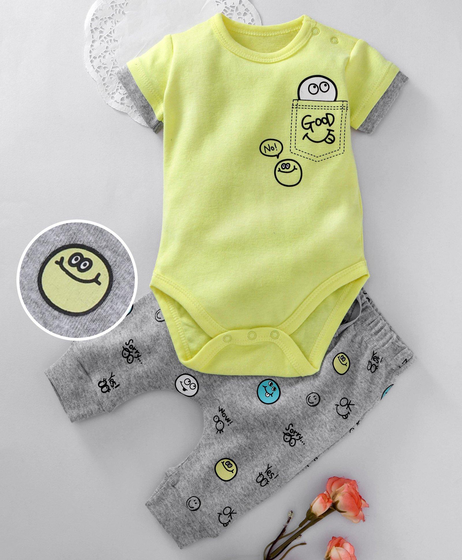 a1a3a227d3d8 Fox Baby Short Sleeves Onesie And Diaper Leggings Multiprint - Lemon Green  Grey