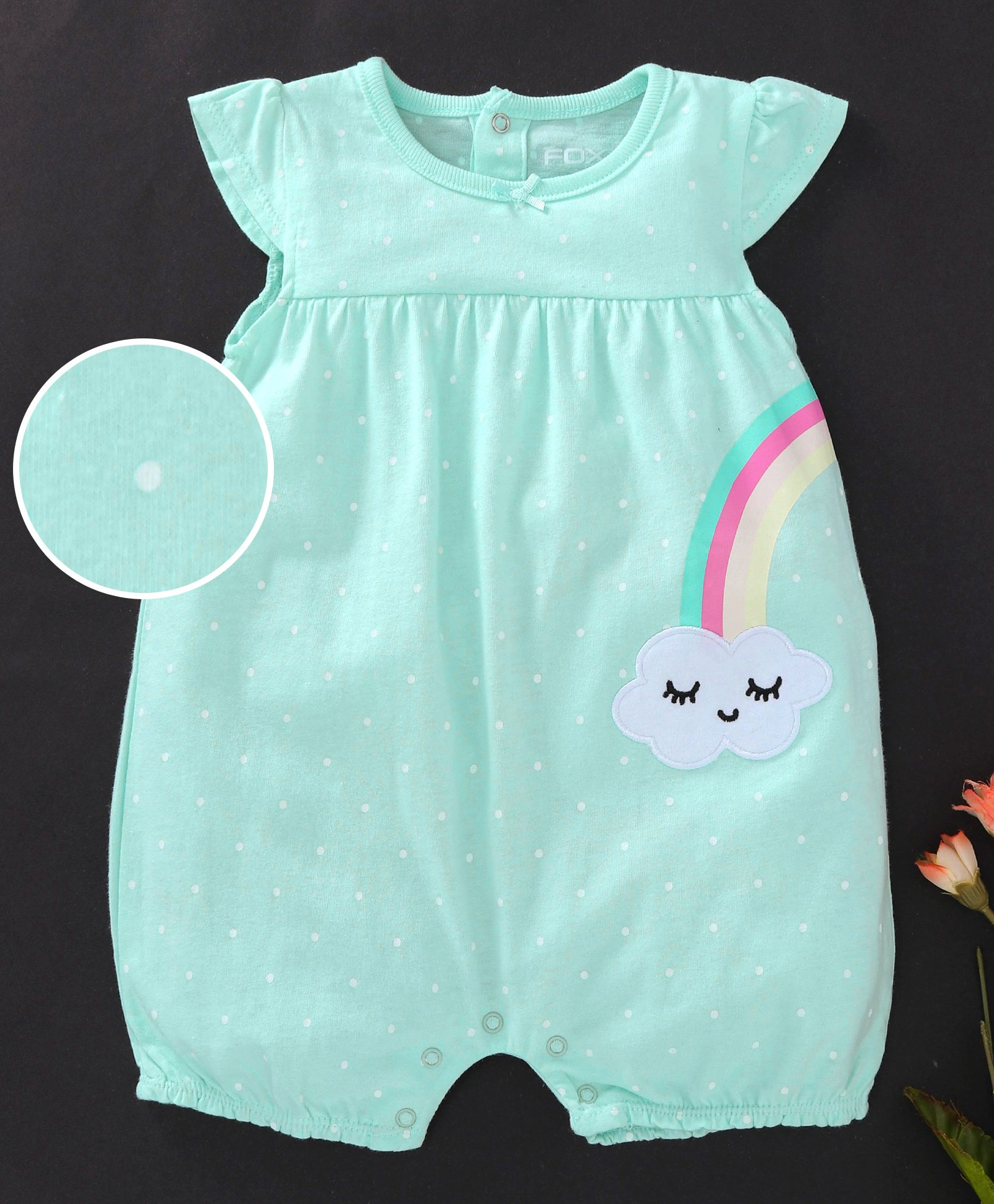 def0b8111 Buy Fox Baby Cap Sleeves Romper Cloud Embroidery Mint Green for ...