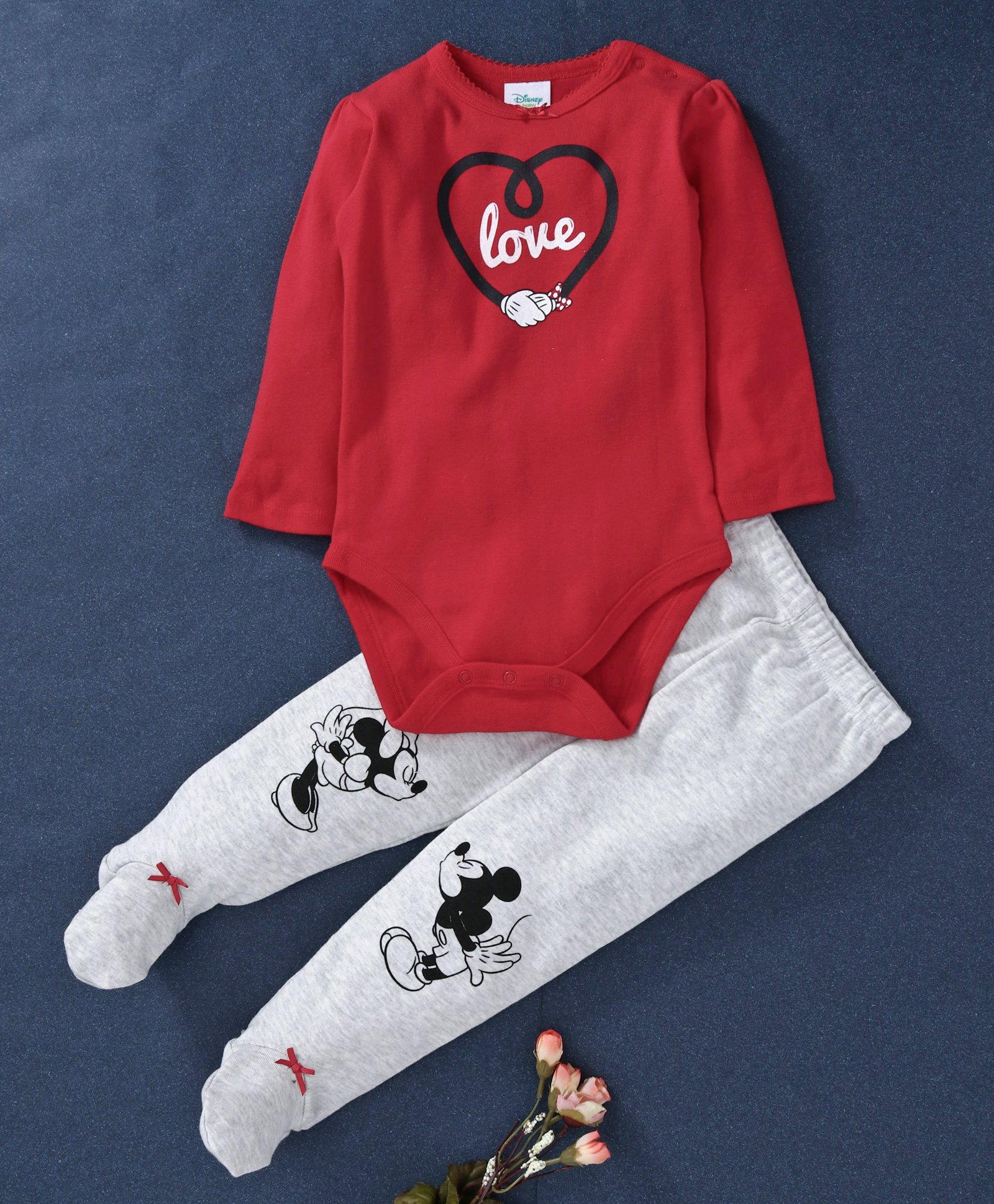 b09904b524713 Fox Baby Full Sleeves Onesie And Bootie Leggings Mickey & Minnie Mouse  Print - Red Light Grey