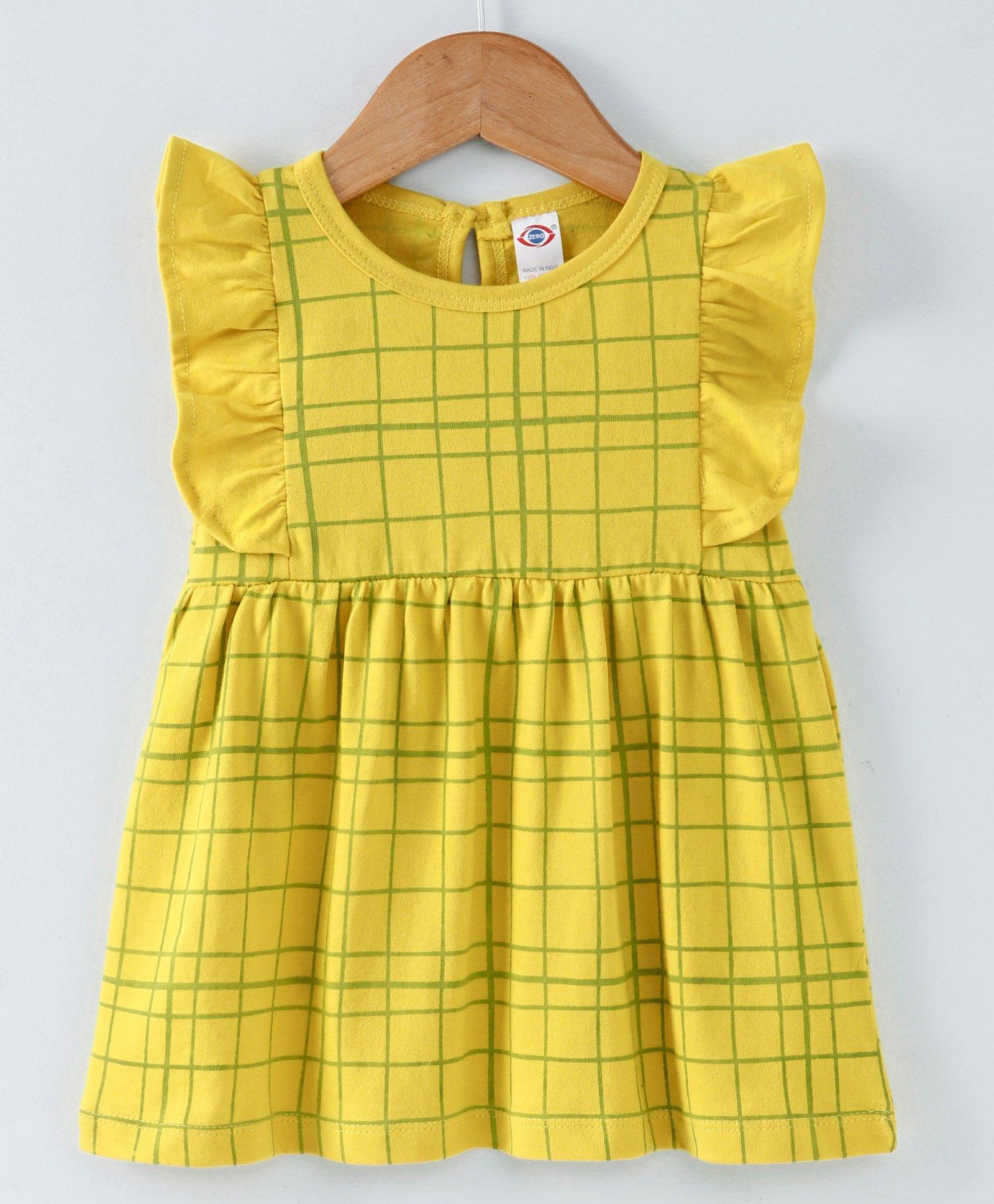 fe92556454 Buy Zero Flutter Sleeves Frock Checks Pattern Yellow for Girls (3-6 ...