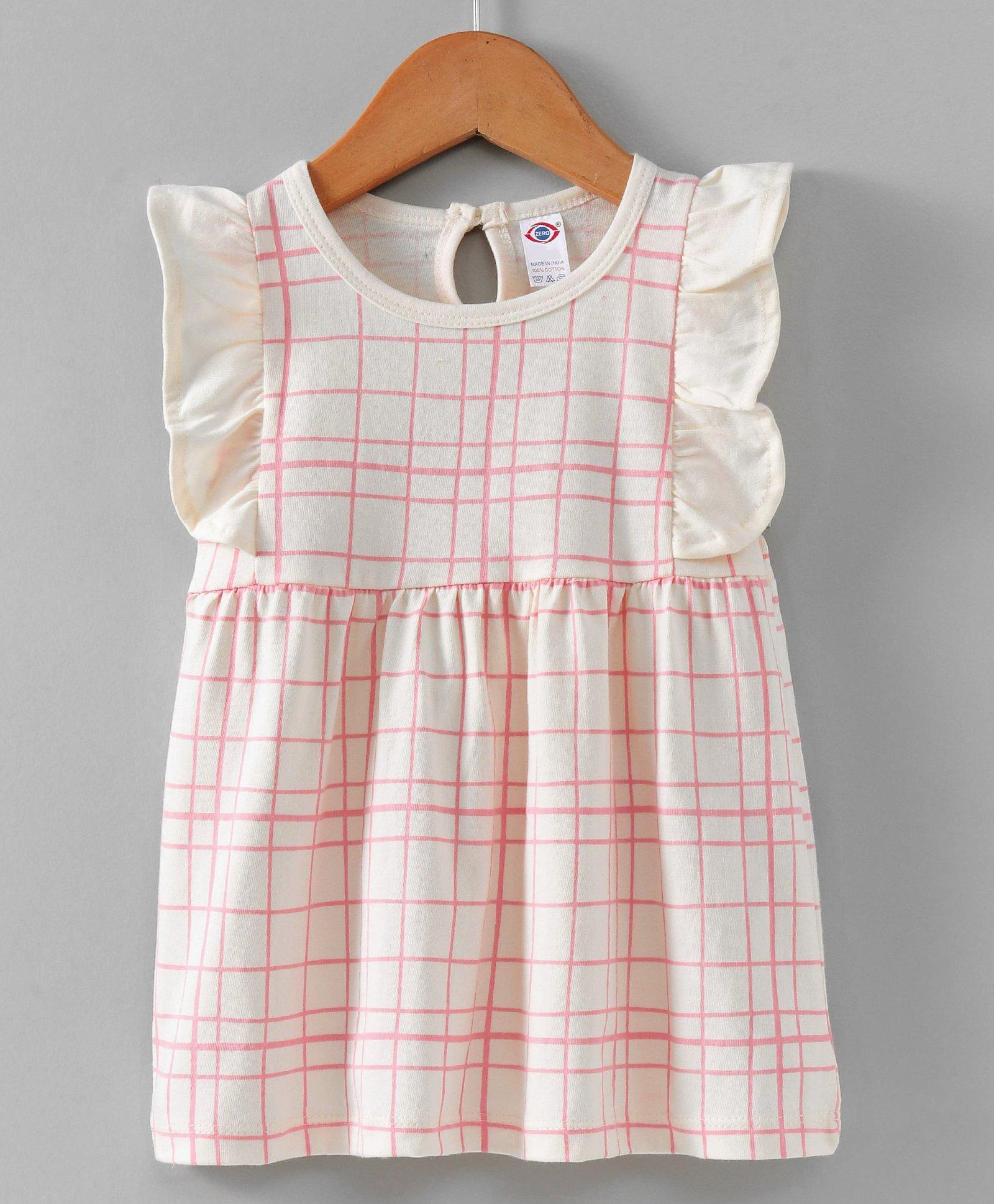 67d40f6106 Buy Zero Flutter Sleeves Frock Checks Pattern Off White for Girls (3-6 ...