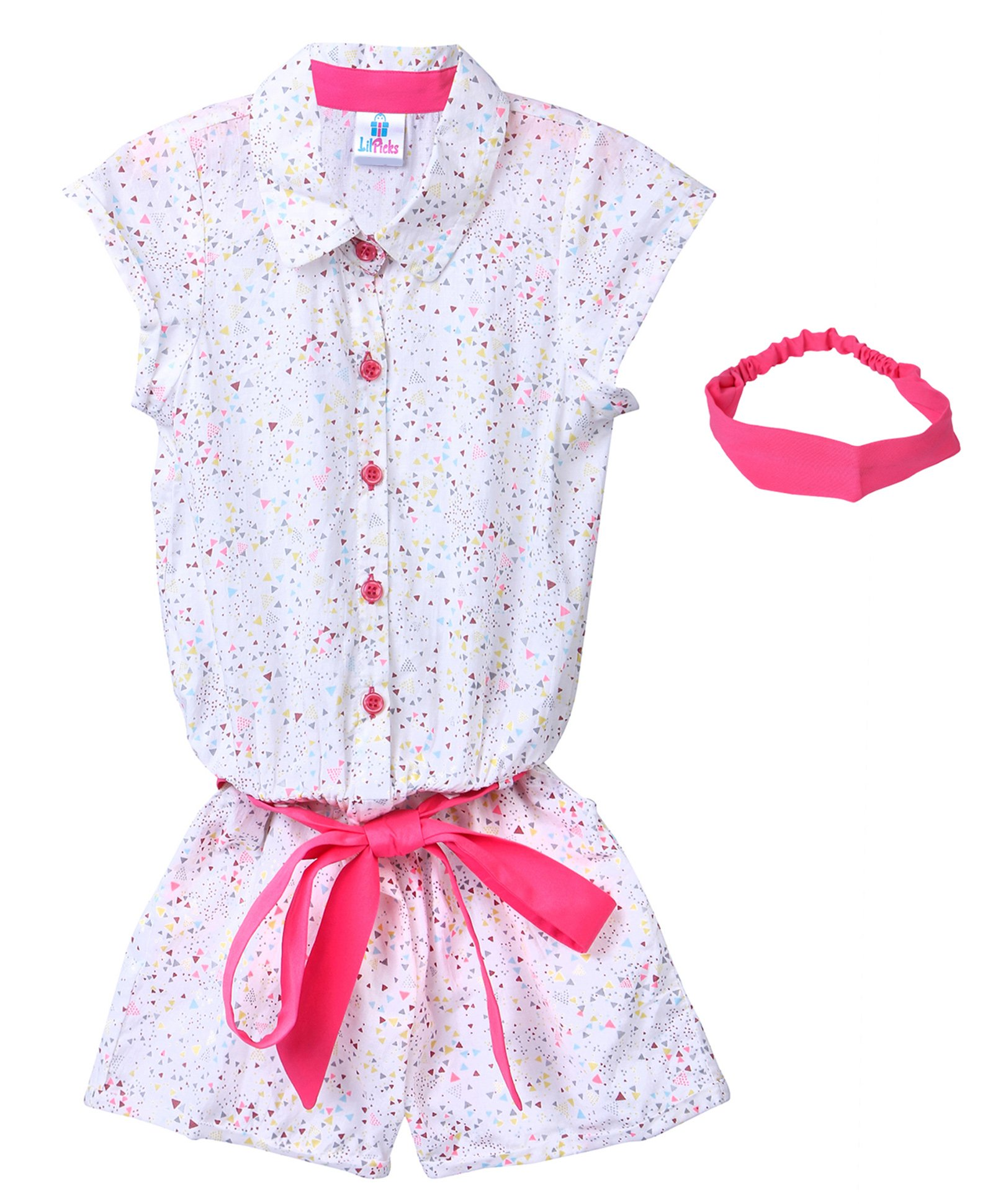 8c7df7437450 Lilpicks Couture Short Sleeves Small Triangle Print Jumpsuit With Headband  - White