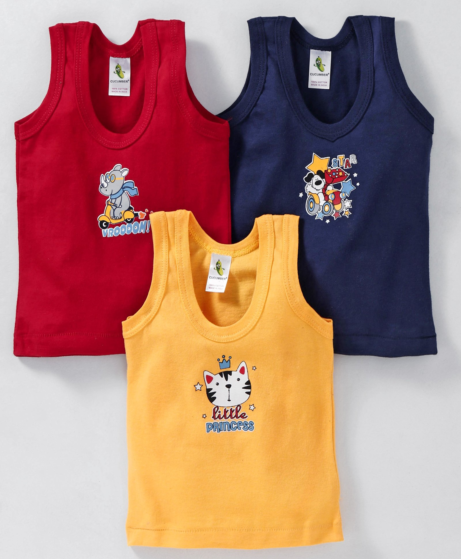 d0b0d3bf Cucumber Sleeveless Vests Animal Print Pack of 3 - Blue Red Yellow. 3 to ...