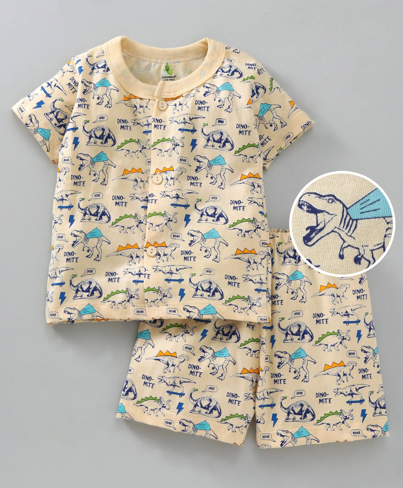 Buy Cucumber Half Sleeves Tee & Shorts All Over Dino Print Cream for Boys  (6-12 Months) Online in India, Shop at FirstCry com - 2588959