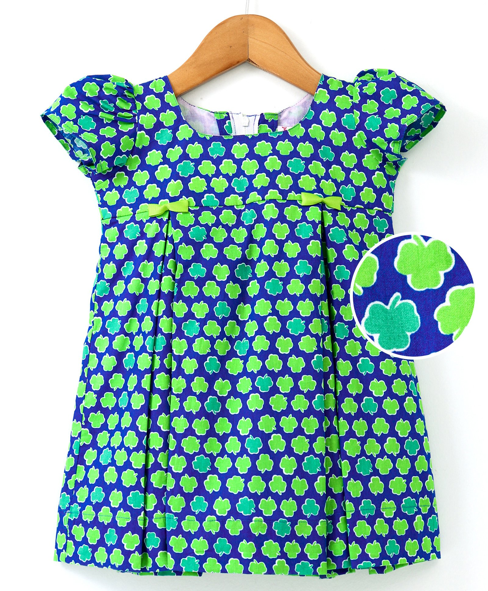 481e4a970db Buy Moms Girl Leaves Printed Short Sleeves Dress Green   Blue for ...