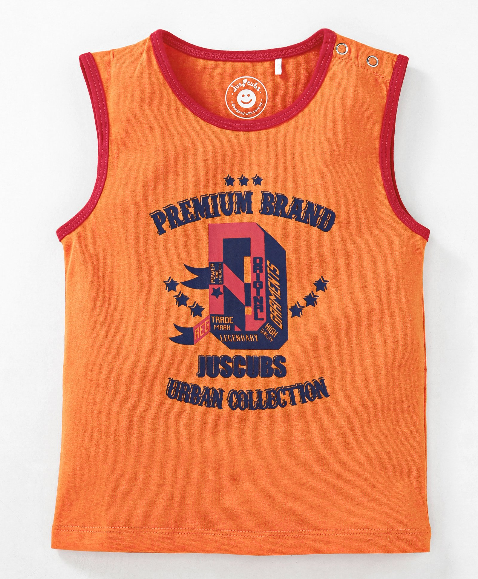 0bee4a308 Buy JusCubs Printed Sleeveless TShirt Orange for Boys (9-12 Months ...