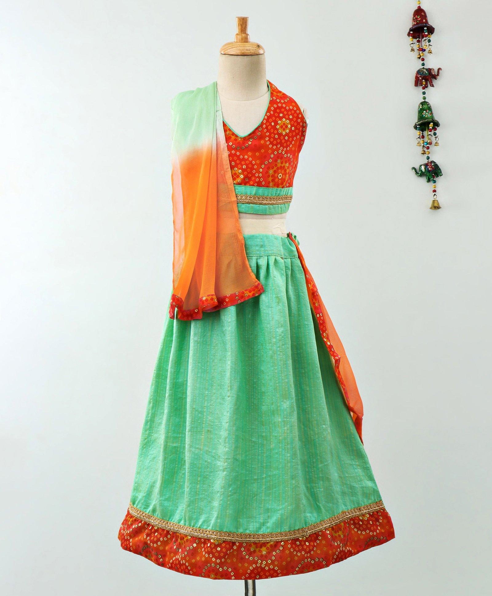 16d15314754c71 Bownbee Bandhani Print Lehenga & Sleeveless Choli - Green & Red