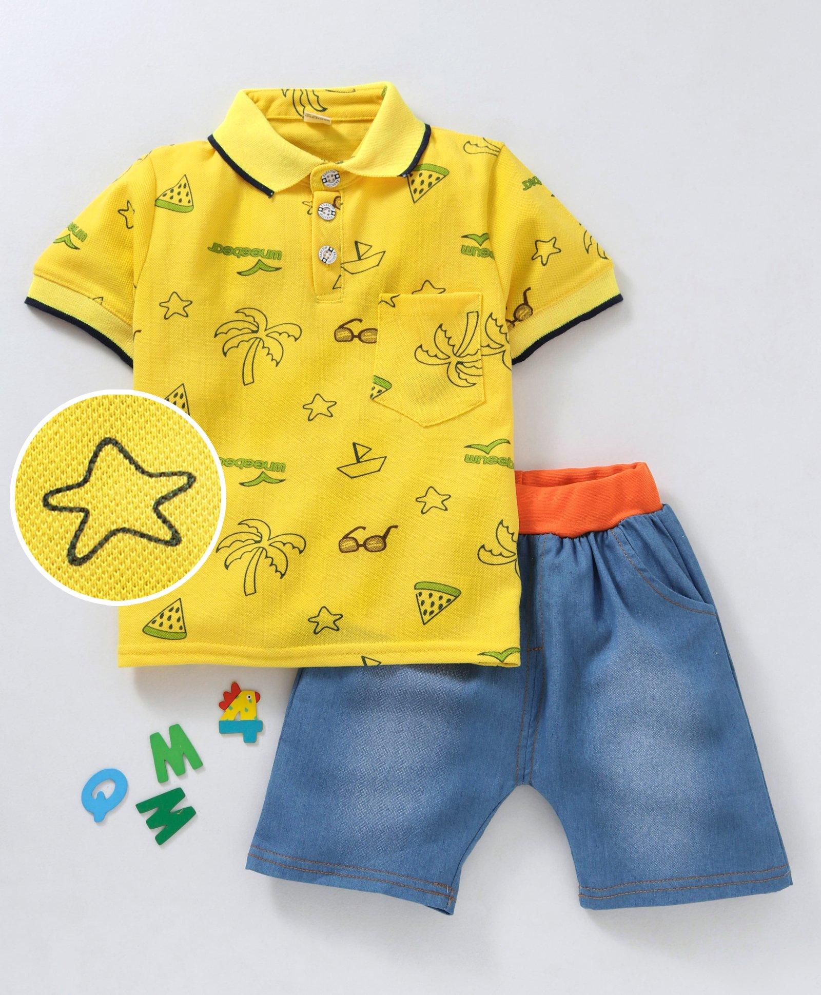 6fee567dd5e9 Buy Kookie Kids Half Sleeves Printed Polo Tee   Denim Shorts ...