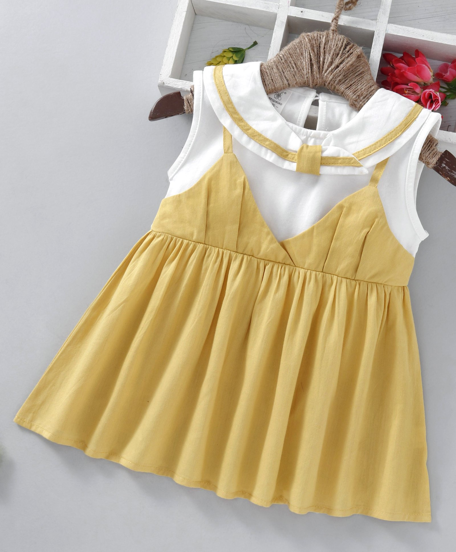 3674b30c89a32 Buy Lekeer Kids Sleeveless Sailor Collar Frock Yellow for Girls (2-3 Years)  Online in India, Shop at FirstCry.com - 2611317