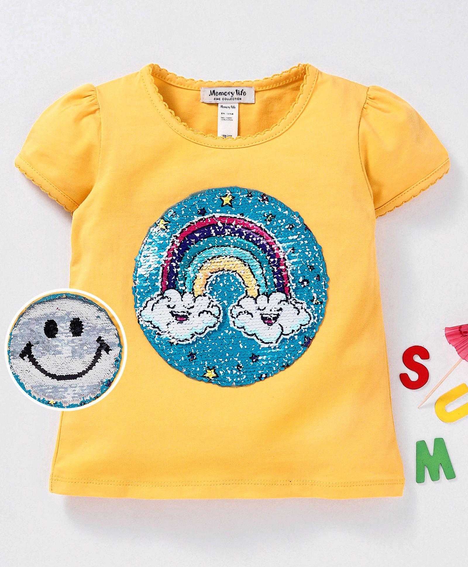 Buy Memory Life Short Sleeves Tee Sequin Flip Rainbow Design Yellow for  Girls (3-6 Months) Online in India, Shop at FirstCry com - 2622370