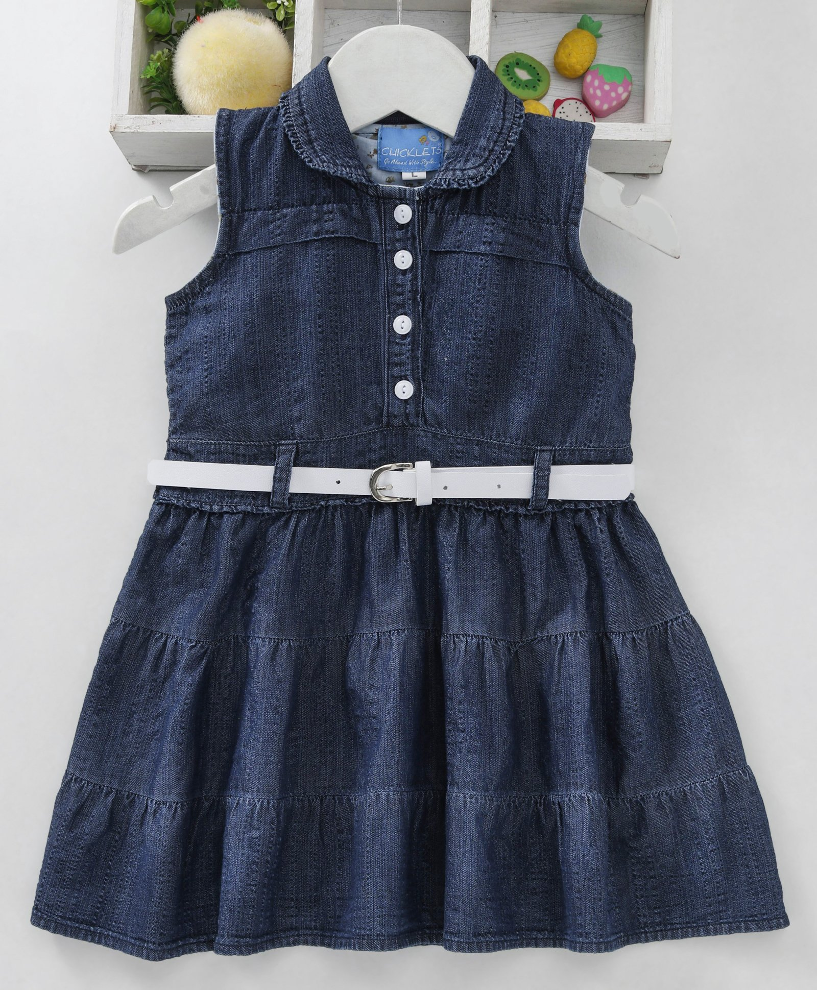 12fd8f85103 Buy Chicklets Sleeveless Solid Dress With Belt Dark Blue for Girls (3-4 ...