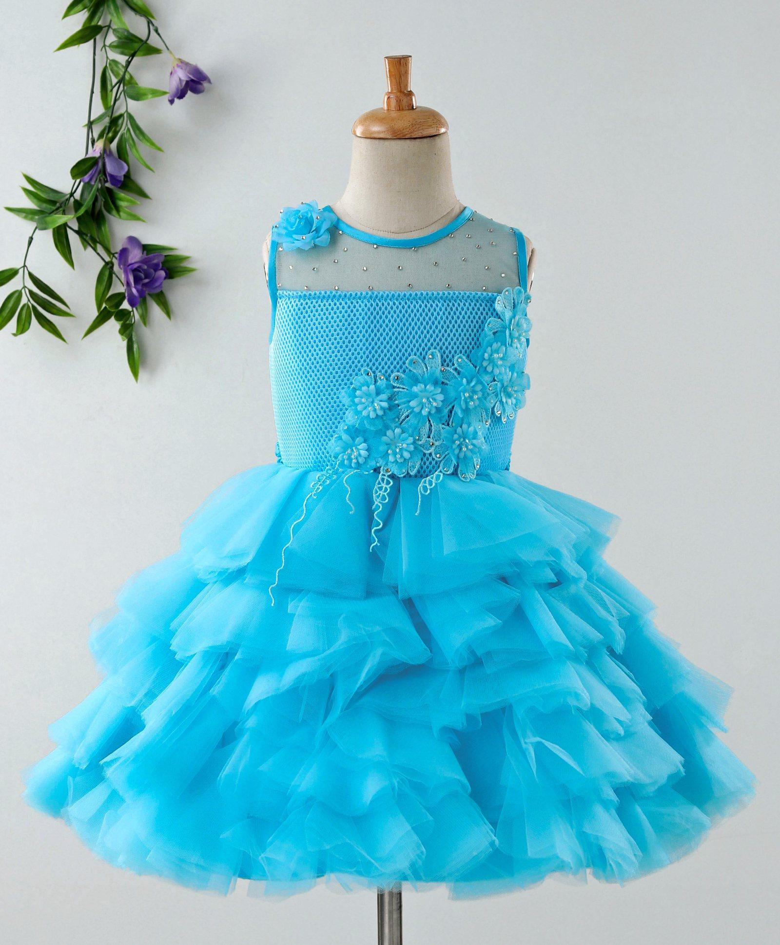 558cbb7ae75 Buy Babyhug Sleeveless Net Layered Party Frock Blue for Girls (3-6 ...