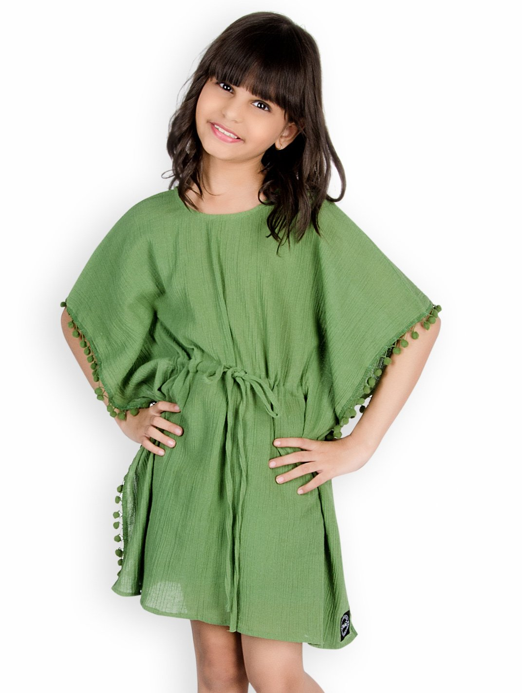 92da4c966a Buy Olele Side Pom Pom Kaftan Style Half Sleeves Top Green for ...