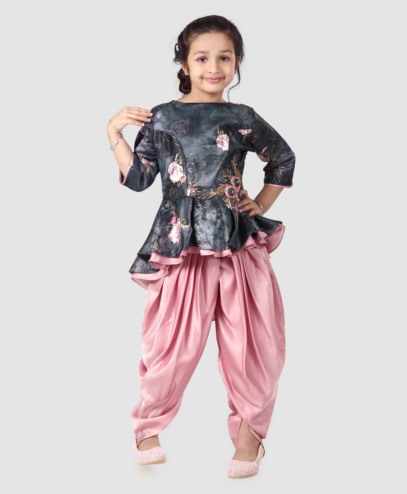 dc82bdb9 Buy Enfance Rose Flower Print Three Fourth Sleeves Top & Dhoti Set Navy  Blue for Girls (2-3 Years) Online in India, Shop at FirstCry.com - 2670775