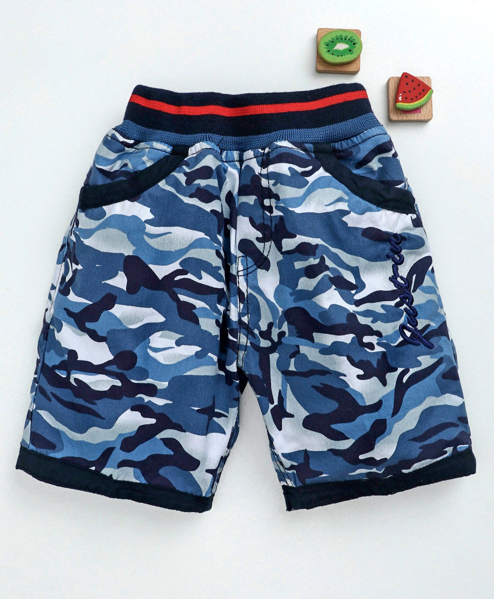 1fdb695079 Buy Olio Kids Camouflage Shorts Justice Embroidery Blue for Boys (4 ...