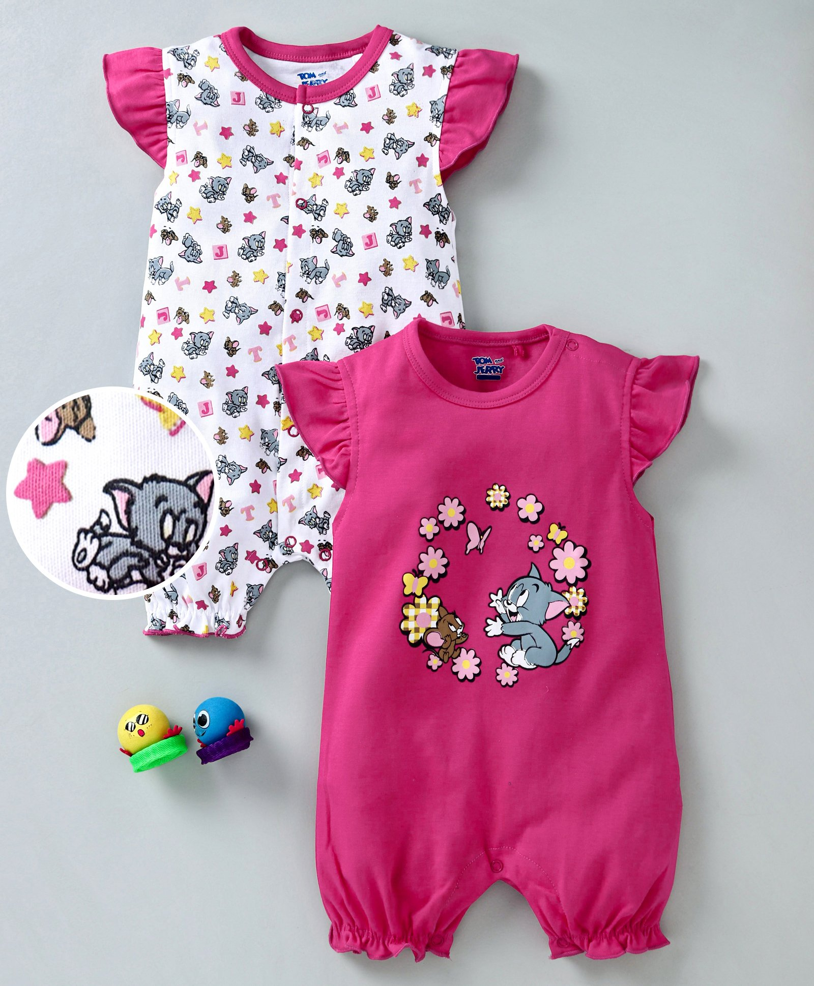 045dafc91e8 Mom s Love Cap Sleeves Rompers Tom   Jerry Print Pack of 2 - Pink White