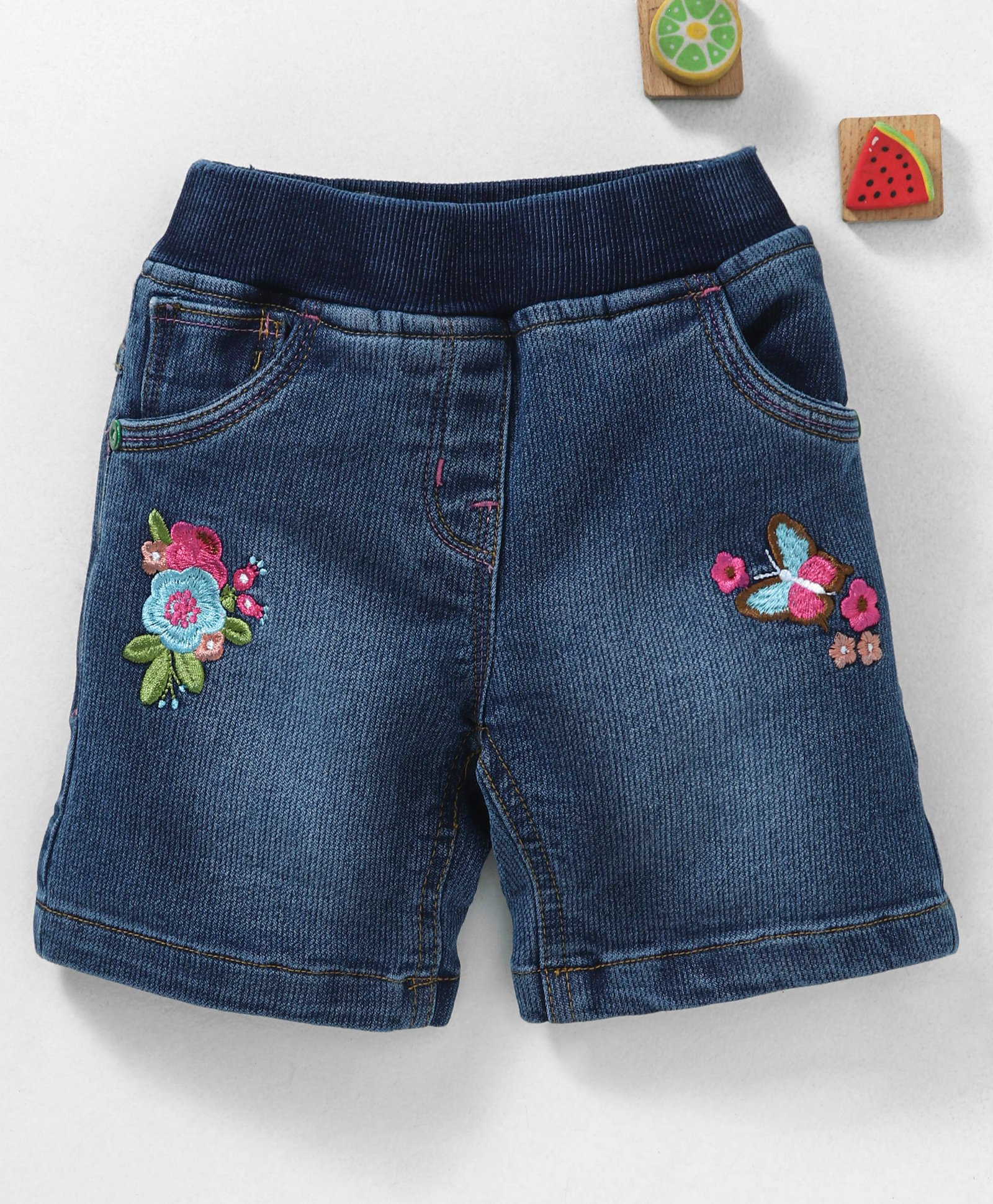 9017d76b21 Buy Olio Kids Pull On Denim Shorts Floral Embroidery Blue for Girls (6 ...