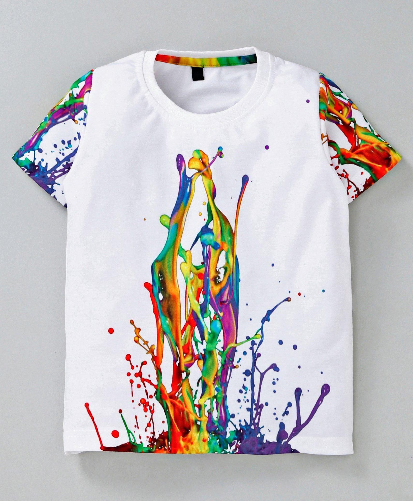 658892e3 Amigos Abstract Color Spash Printed Half Sleeves T-Shirt - White