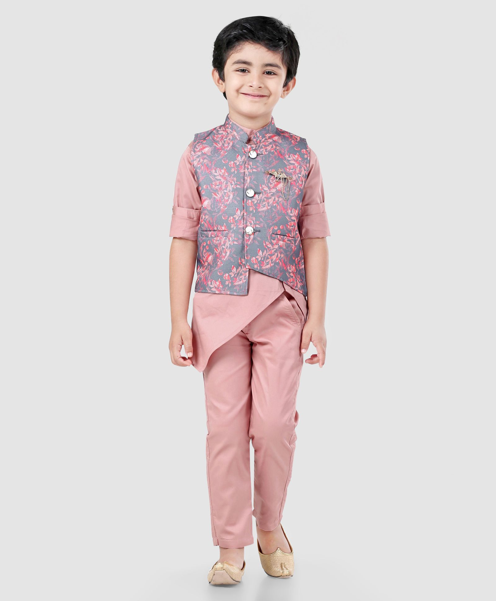 e7497bdf327 Dapper Dudes Full Sleeves Kurta With Flower Print Jacket   Pajama Set -  Peach