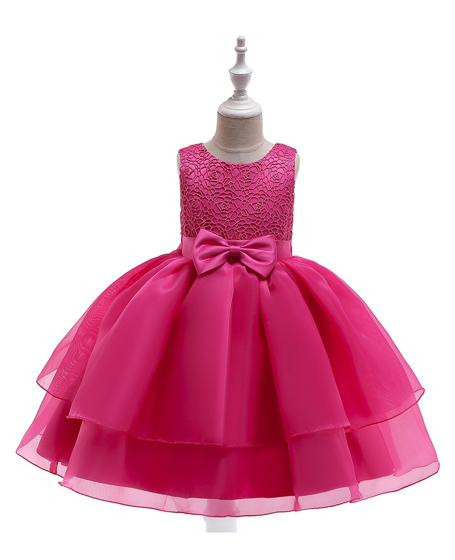 10dd8ac65a Pre Order - Awabox Sleeveless Big Bow Belt Embroidered Yoke Multi Tiered  Dress - Dark Pink. 4 to 5 Years ...