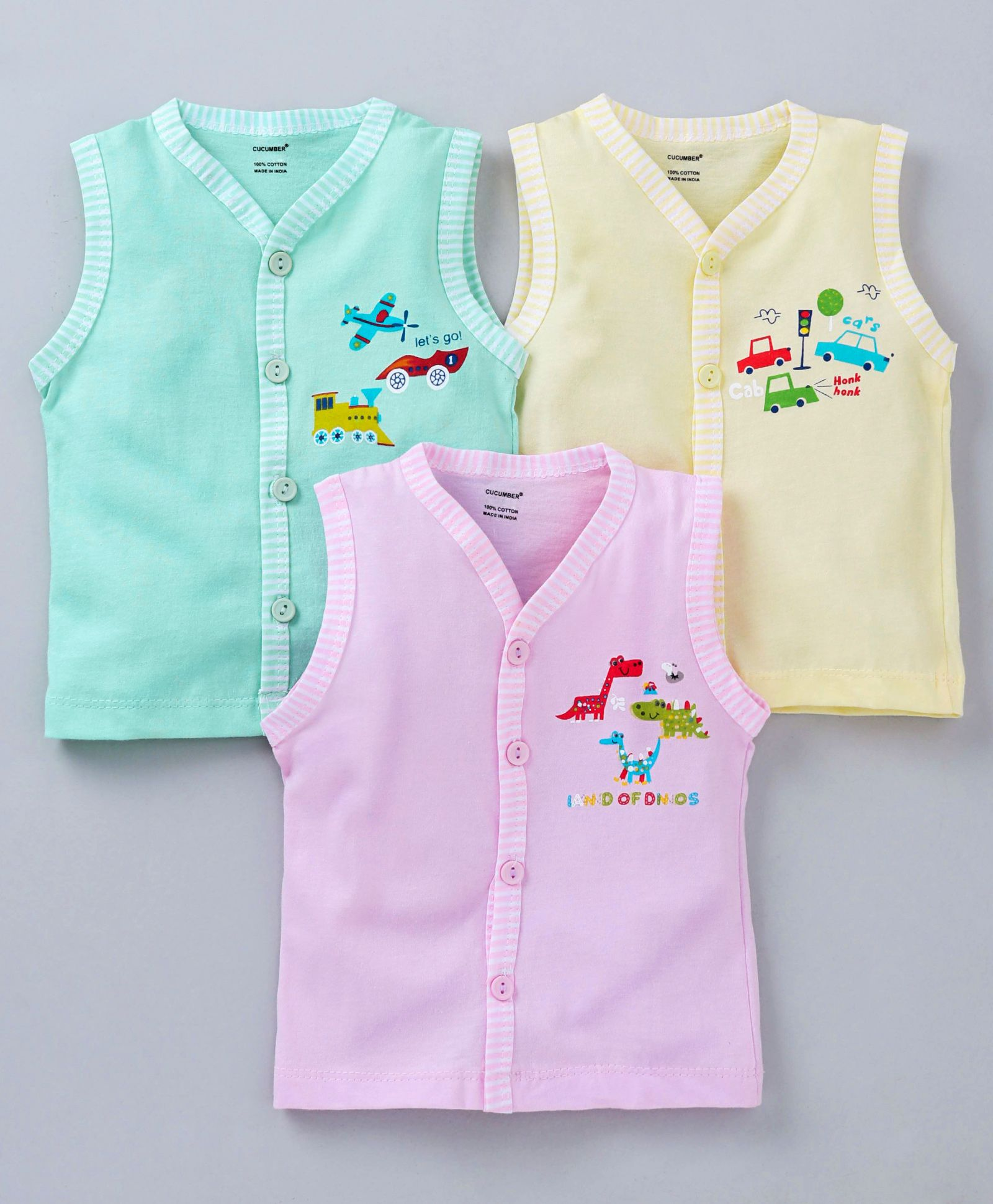 ec81c926 Cucumber Sleeveless Vests Vehicle Print Pack of 3 - Pink Green Yellow. 6 to  ...