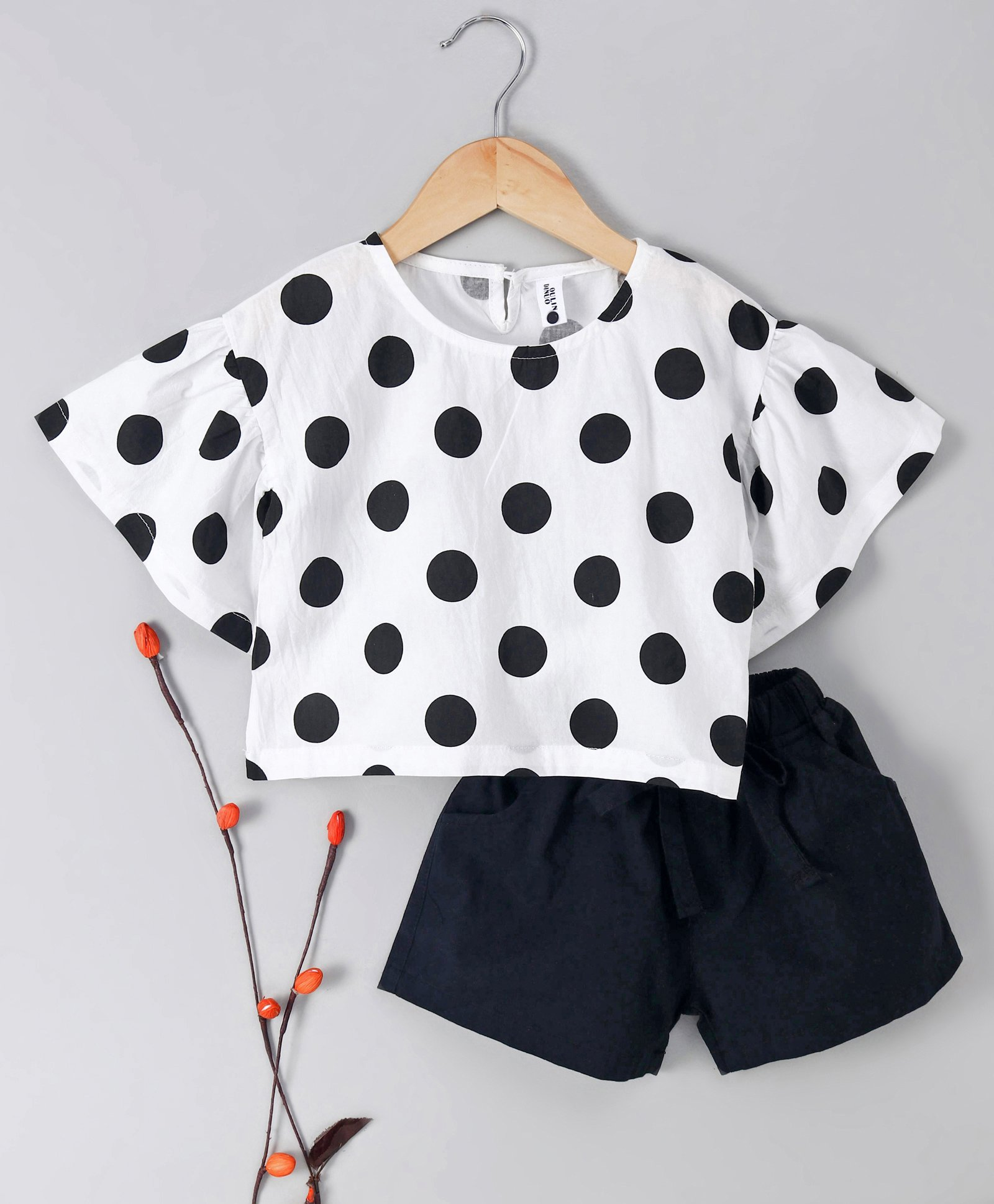 e965706868c Kookie Kids Short Sleeves Top With Shorts Polka Dot Print - Black White