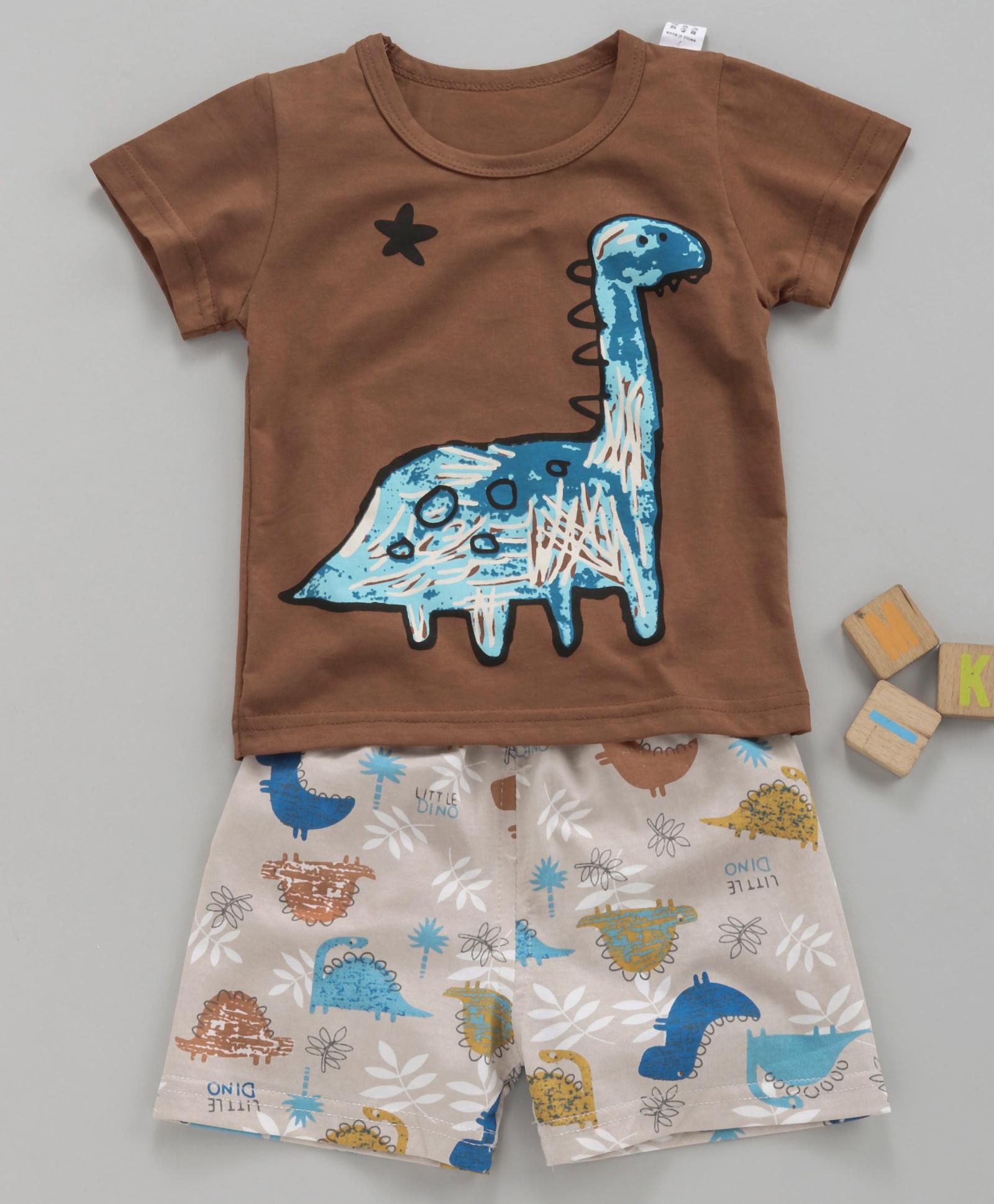 084782847 Buy Kookie Kids Half Sleeves Night Suit Dinosaur Print Brown for ...