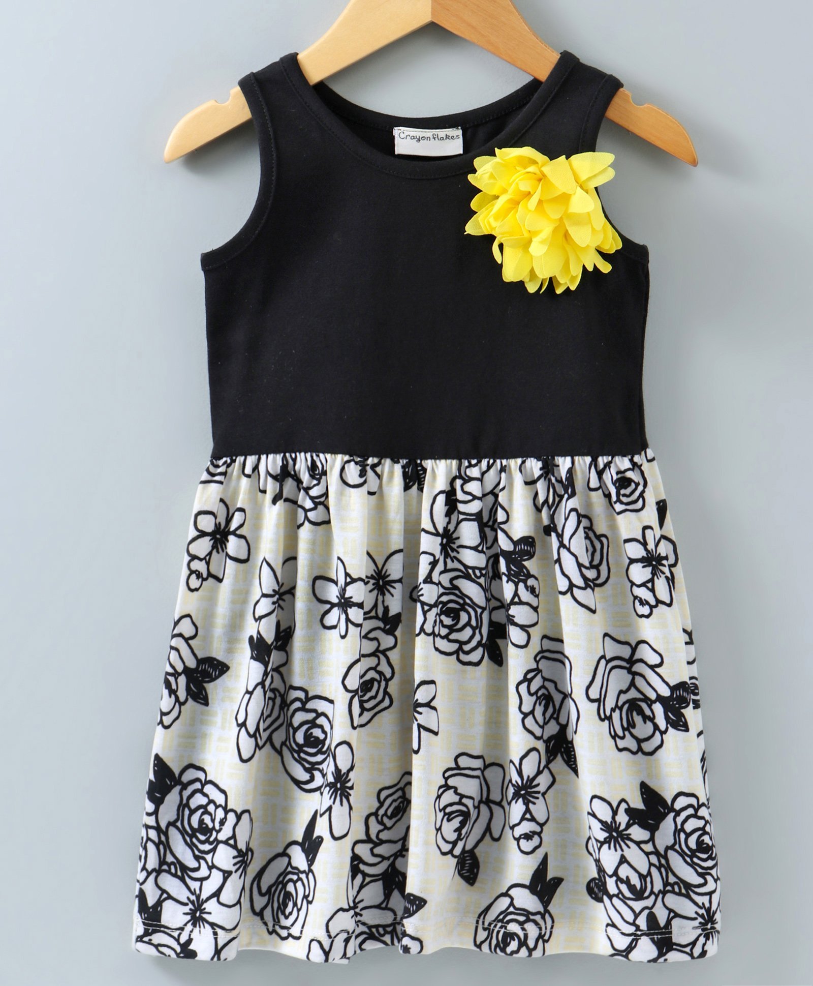 f9b1f548d9d30 Buy Crayonflakes Flower Print Sleeveless Dress Black & White for Girls (2-3  Years) Online in India, Shop at FirstCry.com - 2786981