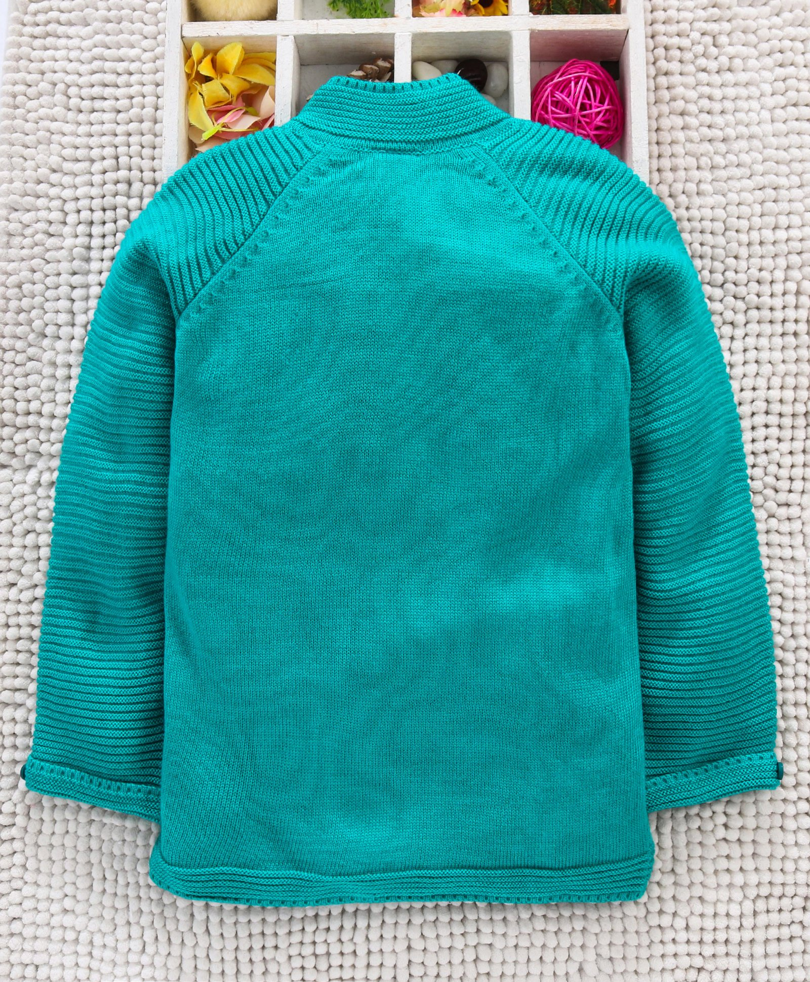 Buy Babyhug Full Sleeves Front Open Sweater Sea Green for