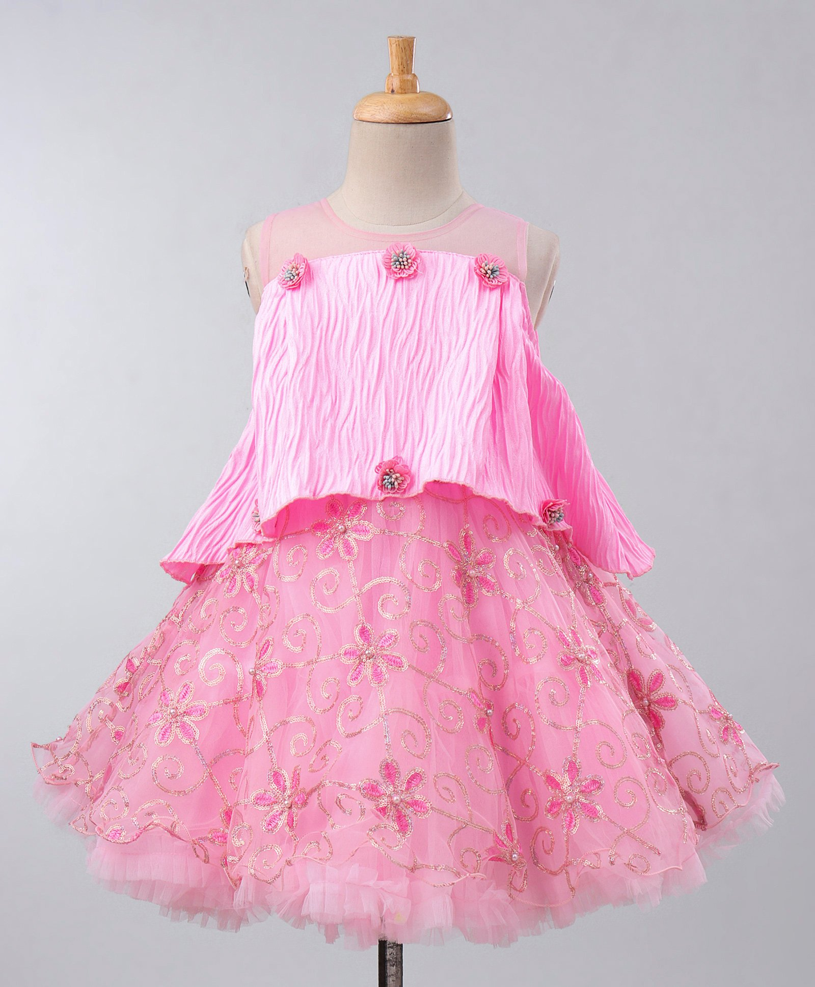 30a739e6 Maalka Sleeveless Sequin Embellished Flower Embroidered Poncho Style Dress  - Pink. 3 to 4 Years ...