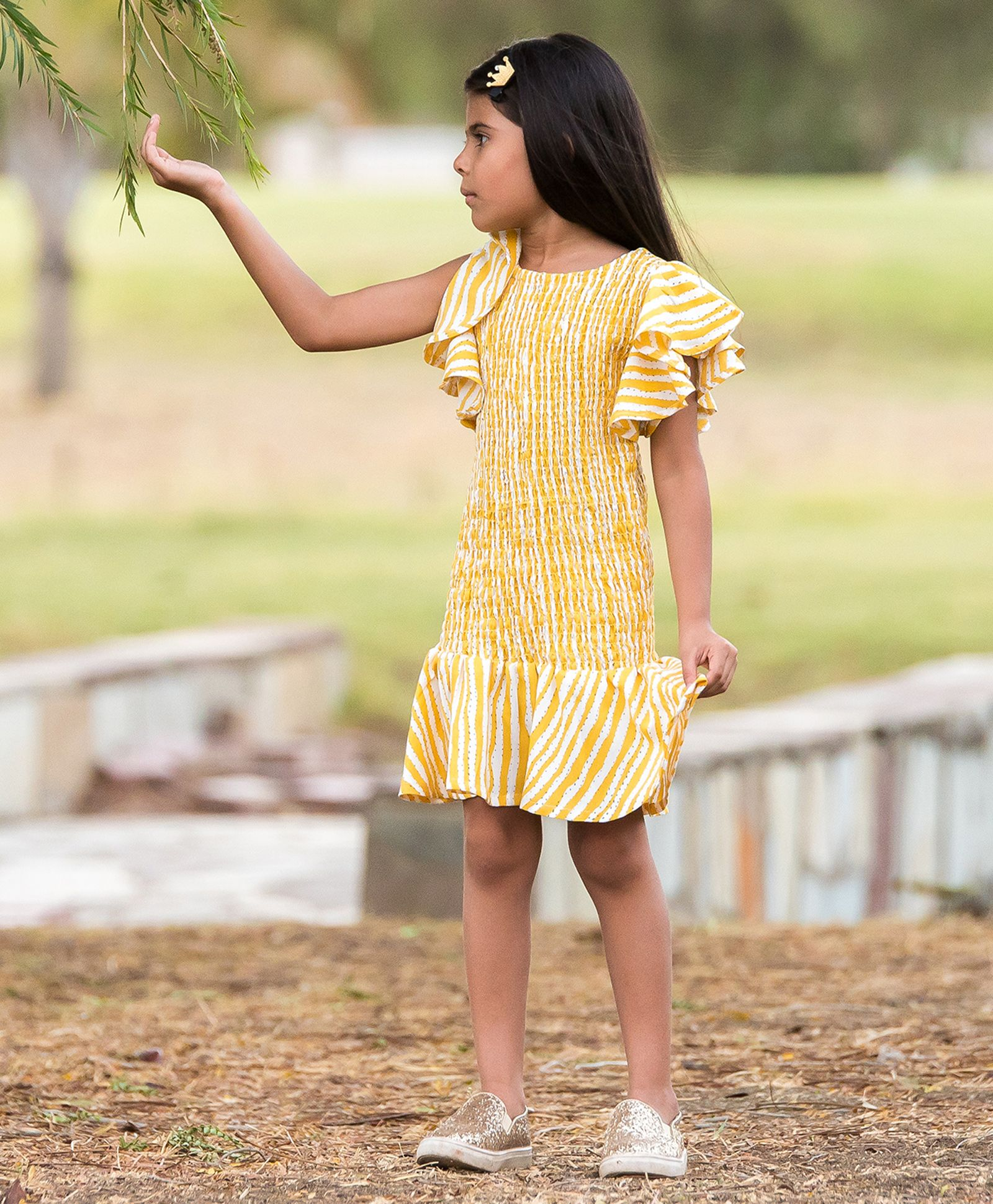 7ab895af80f70 Buy Fairies Forever Cap Sleeves Striped Smocked Dress Yellow for Girls (2-3  Years) Online in India, Shop at FirstCry.com - 2824916