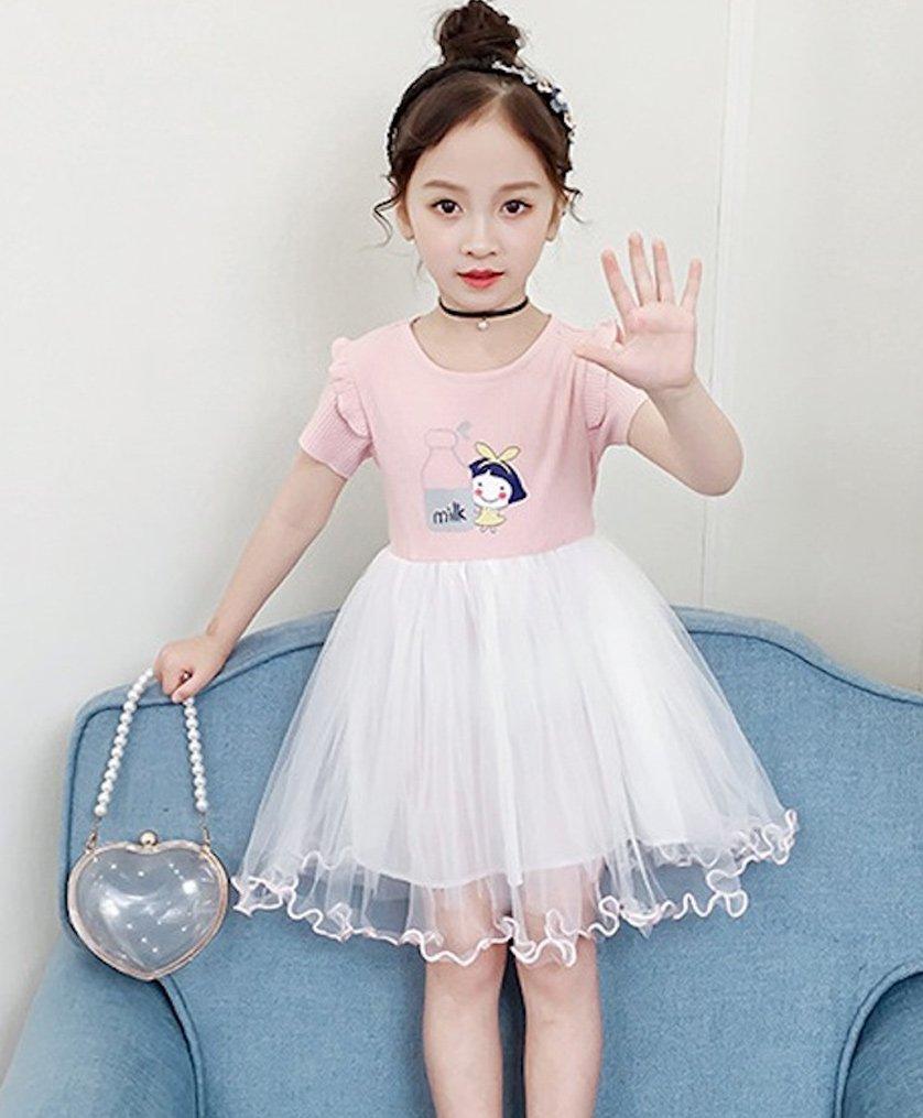 67b6a3461e Pre Order - Awabox Short Sleeves Doll Print Lettuce Trim Tulle Flare Dress  - Pink