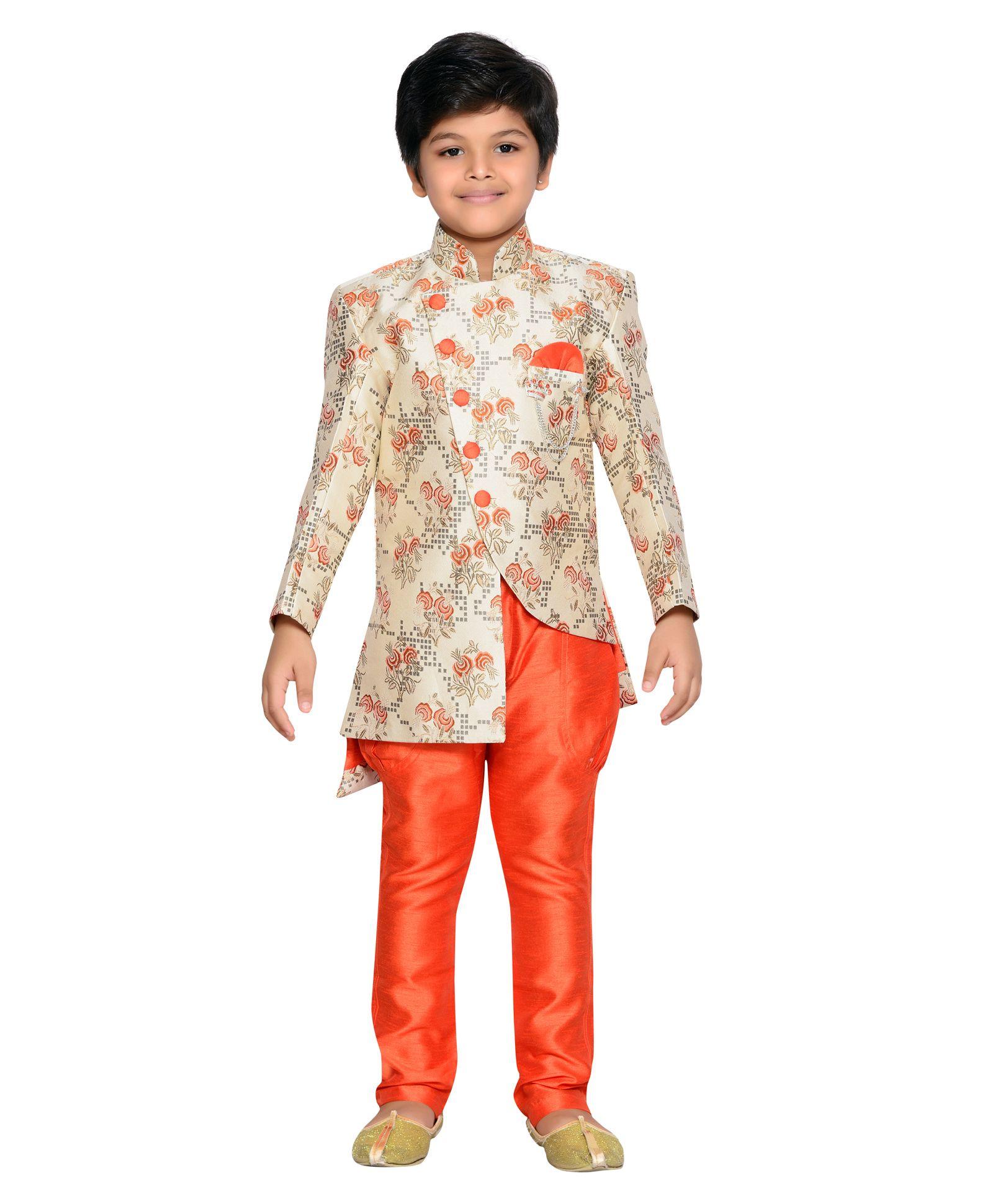 5f3d8330b2 Buy Aj Dezines Embroidered Full Sleeves Sherwani & Pyjama Set Orange for  Boys (3-4 Years) Online in India, Shop at FirstCry.com - 2851012