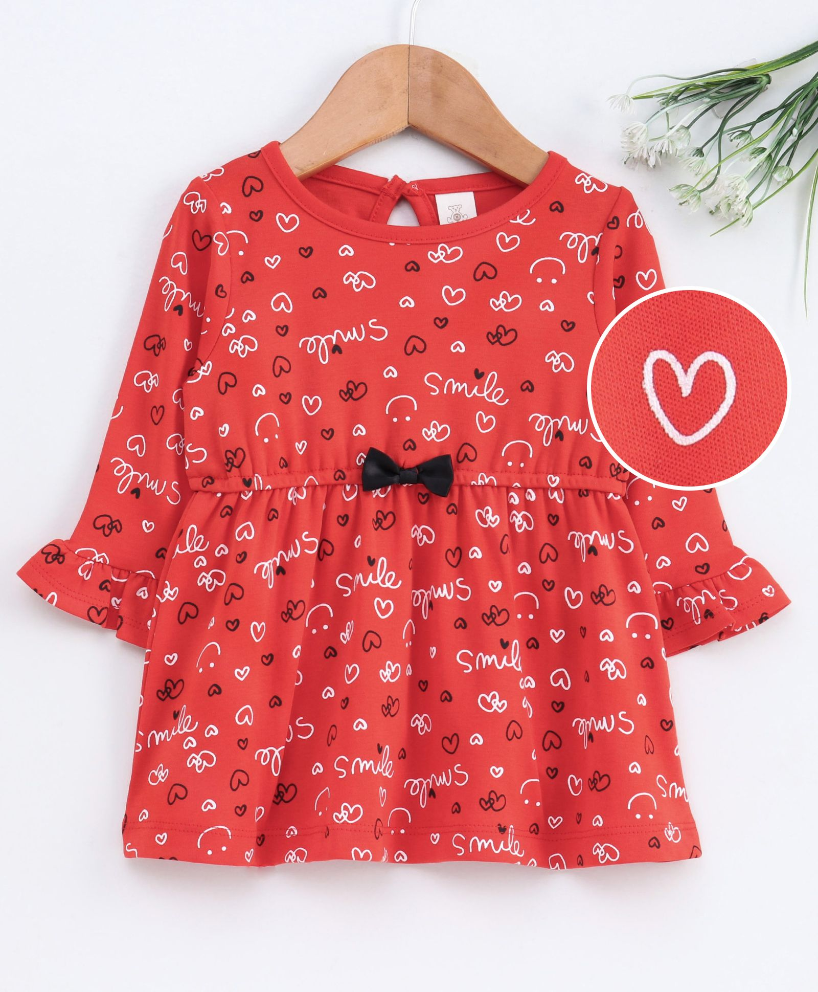 Buy Baby Naturelle & Me Full Sleeves Frock Hearts Print Dark Red for Girls  (3-6 Months) Online in India, Shop at FirstCry com - 2873178