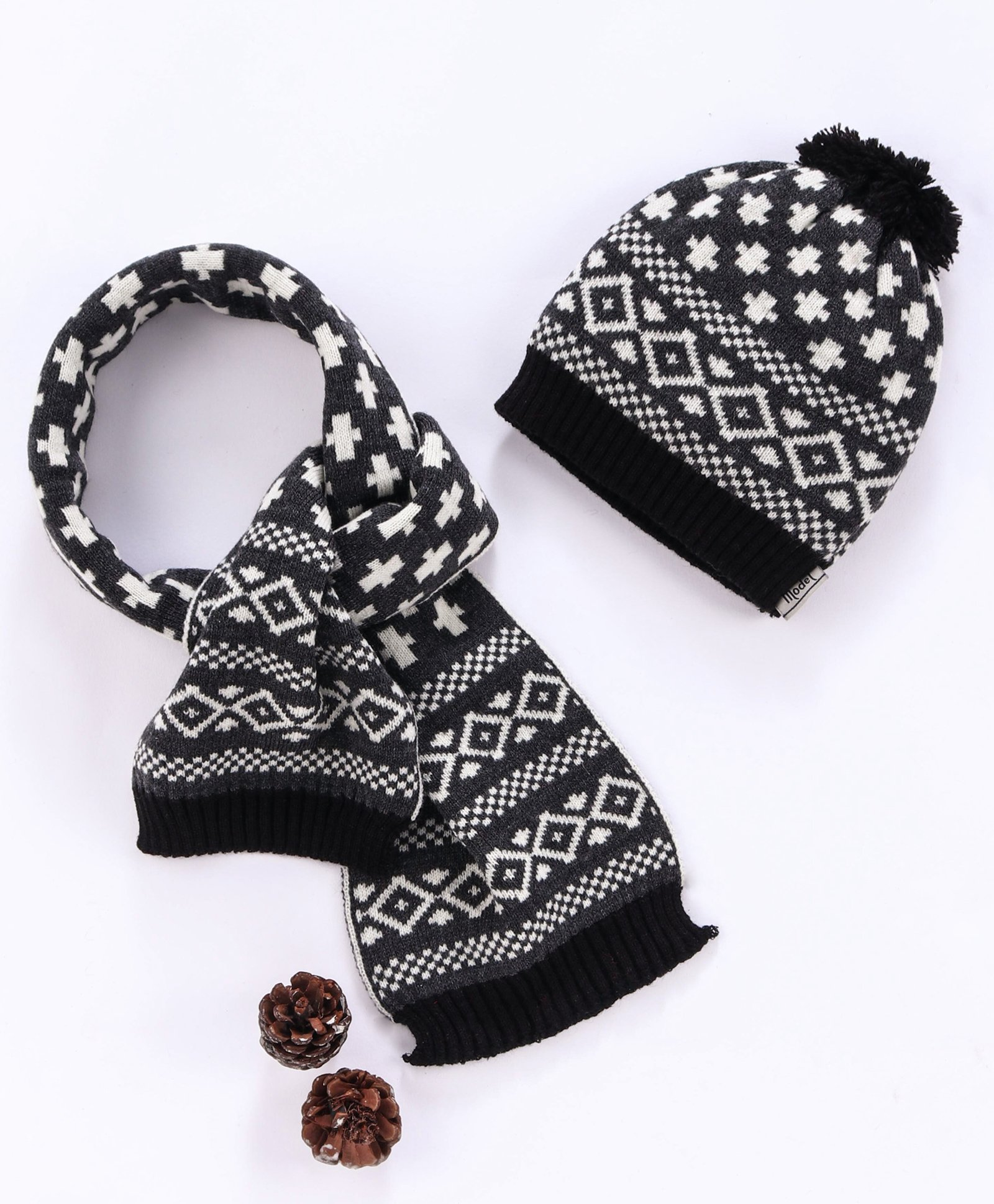 Model Woolen Cap Muffler Set With Pom Pom Dark Grey Online In India Buy At Best Price From Firstcry Com 3021952