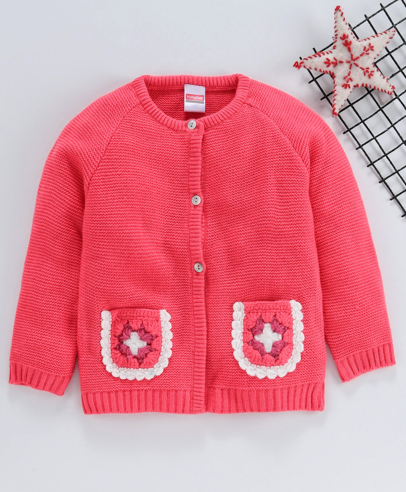 Babyhug Full Sleeves Front Open Sweater With Pockets Coral
