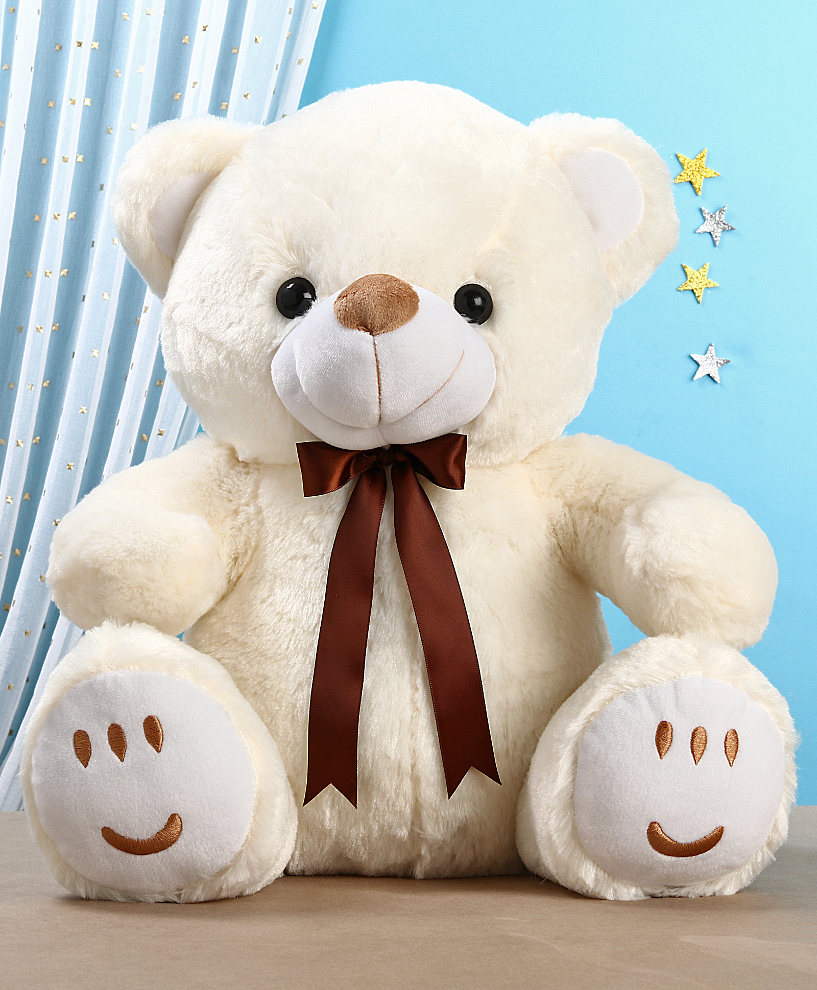 Cute Lamb Stuffed Animals, Teddy Bear Soft Toy With Bow Cream Height 50 Cm Online India Buy Soft Toys For 3 8 Years At Firstcry Com 3278806