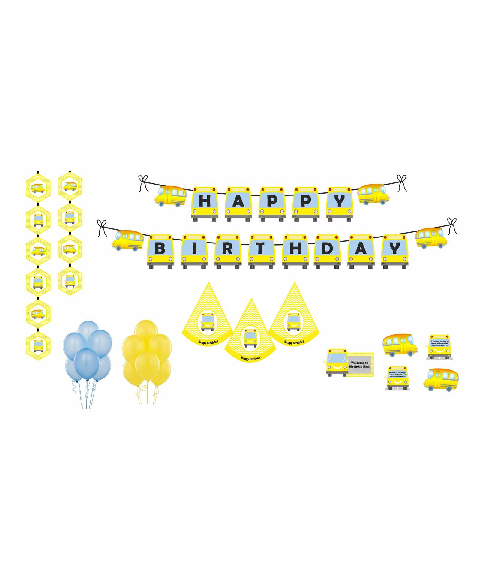 Untumble Wheels On The Bus Theme Birthday Kit Yellow Pack Of 58 Online In India Buy At Best Price From Firstcry Com 3615541
